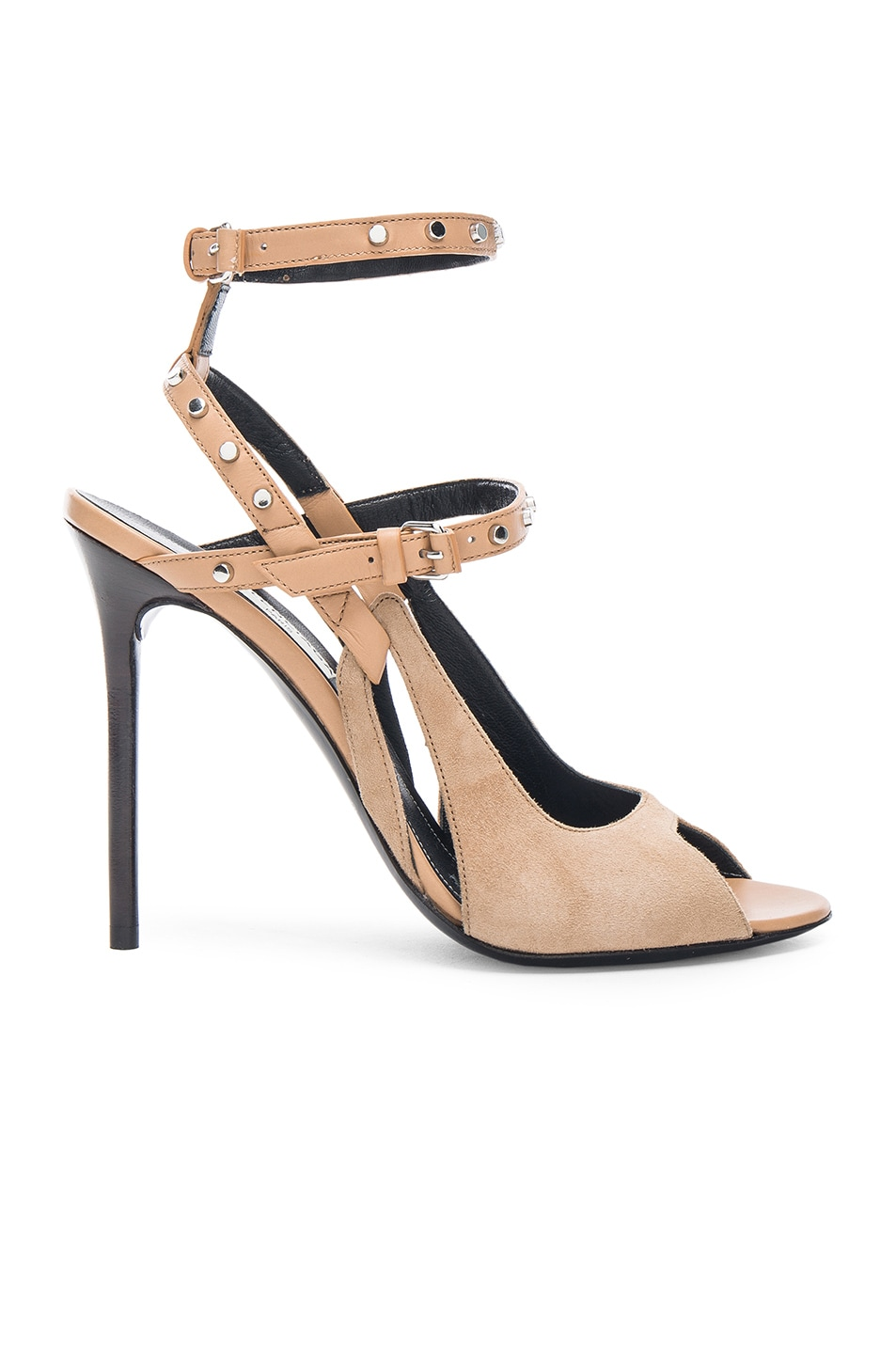 Image 1 of Balenciaga Leather & Suede Strappy Heels in Beige