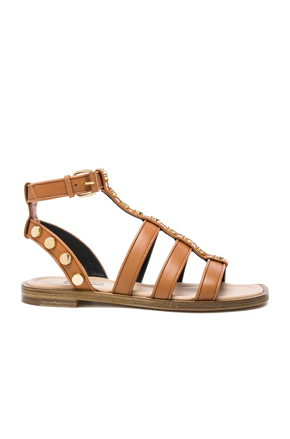 Image 1 of Balenciaga Studded Leather Gladiator Sandals in Cognac