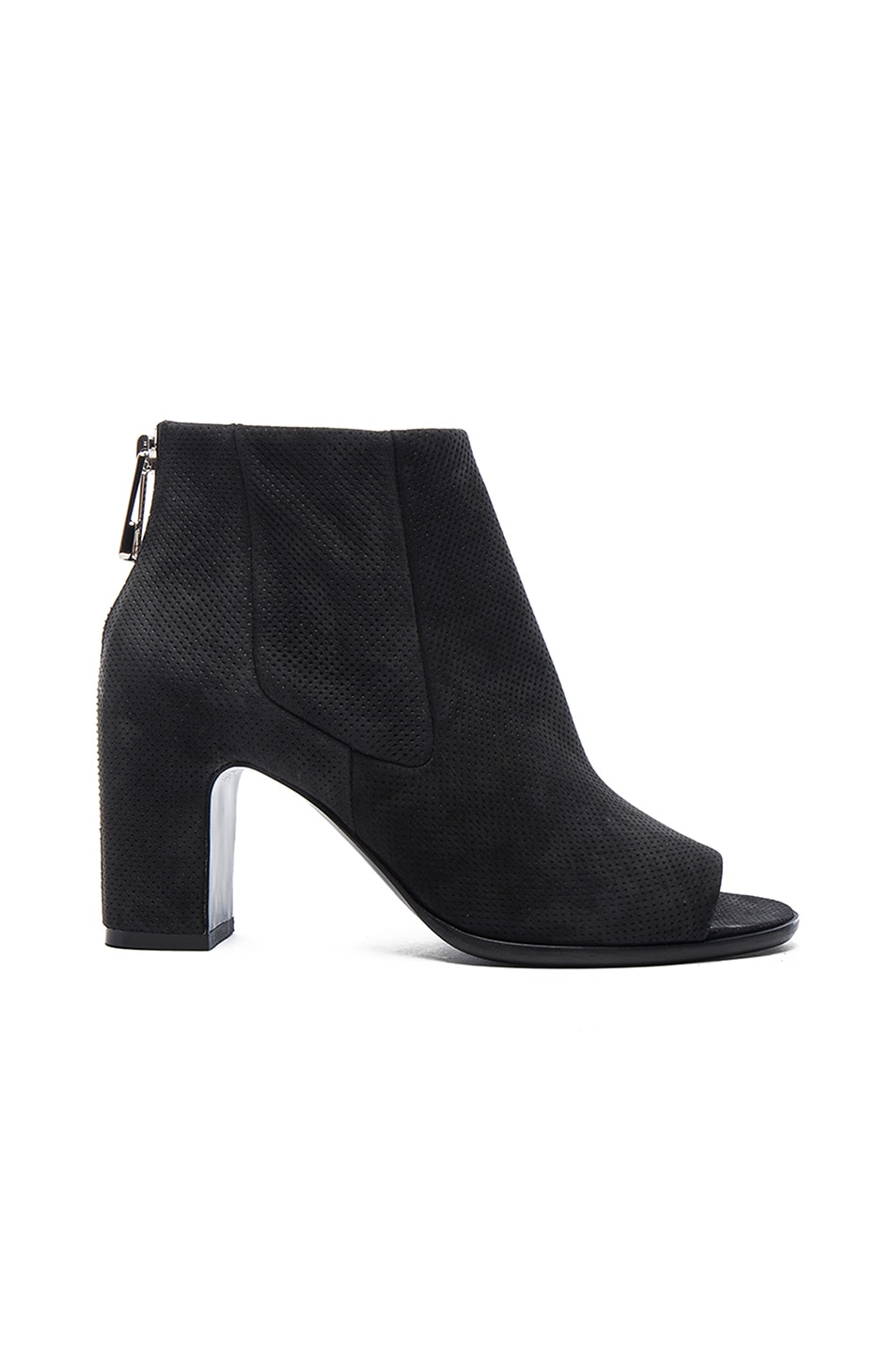 Image 1 of Balenciaga Perforated Leather Open Toe Booties in Black