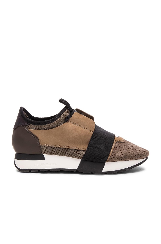 Image 1 of Balenciaga Suede Runner Sneakers in Grey Multi