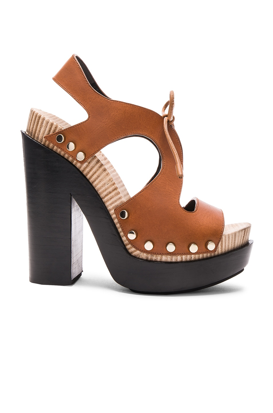 Image 1 of Balenciaga Leather Platform Sandals in Caramel