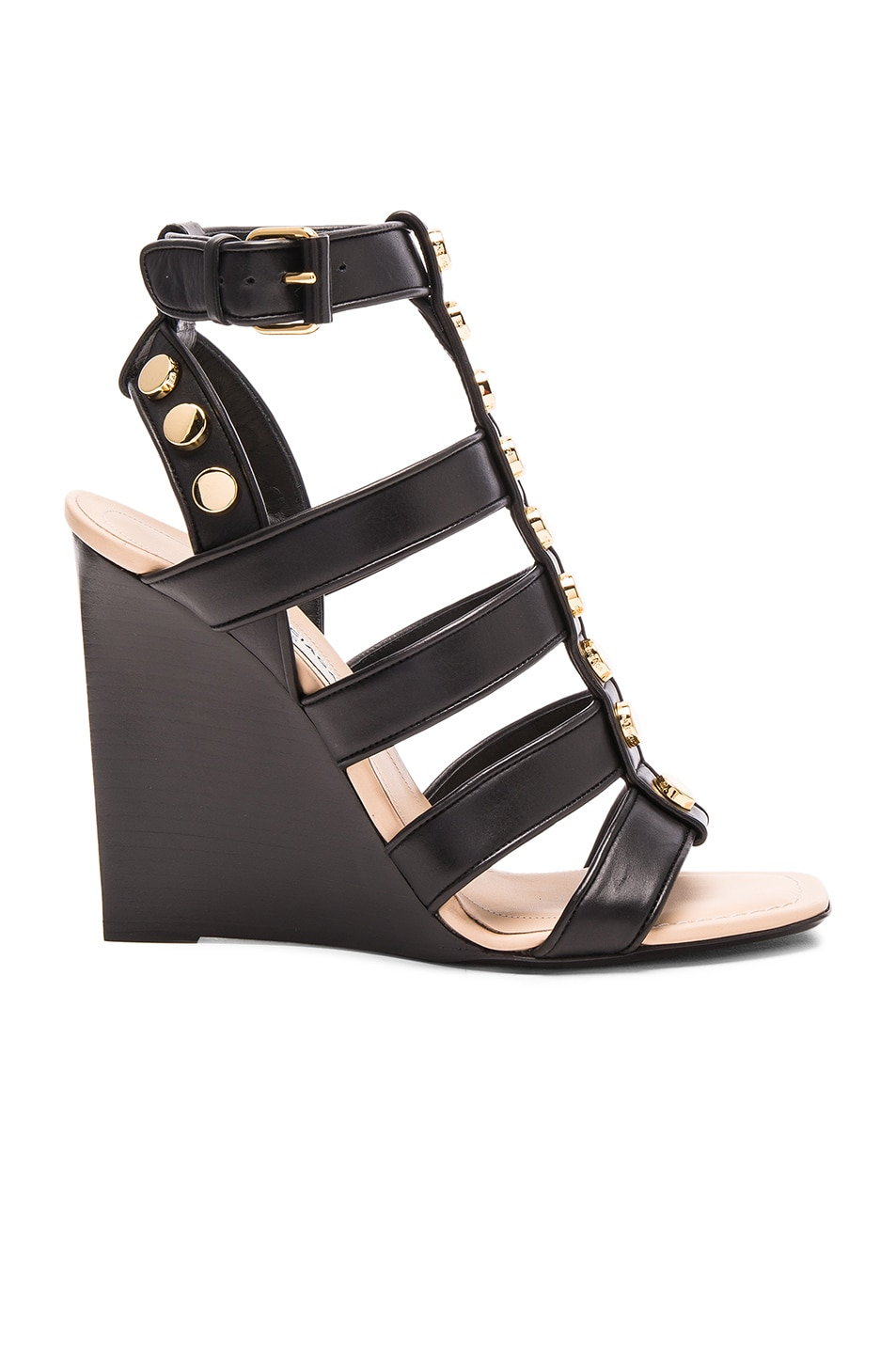 Image 1 of Balenciaga Studded Leather Wedge Sandals in Black