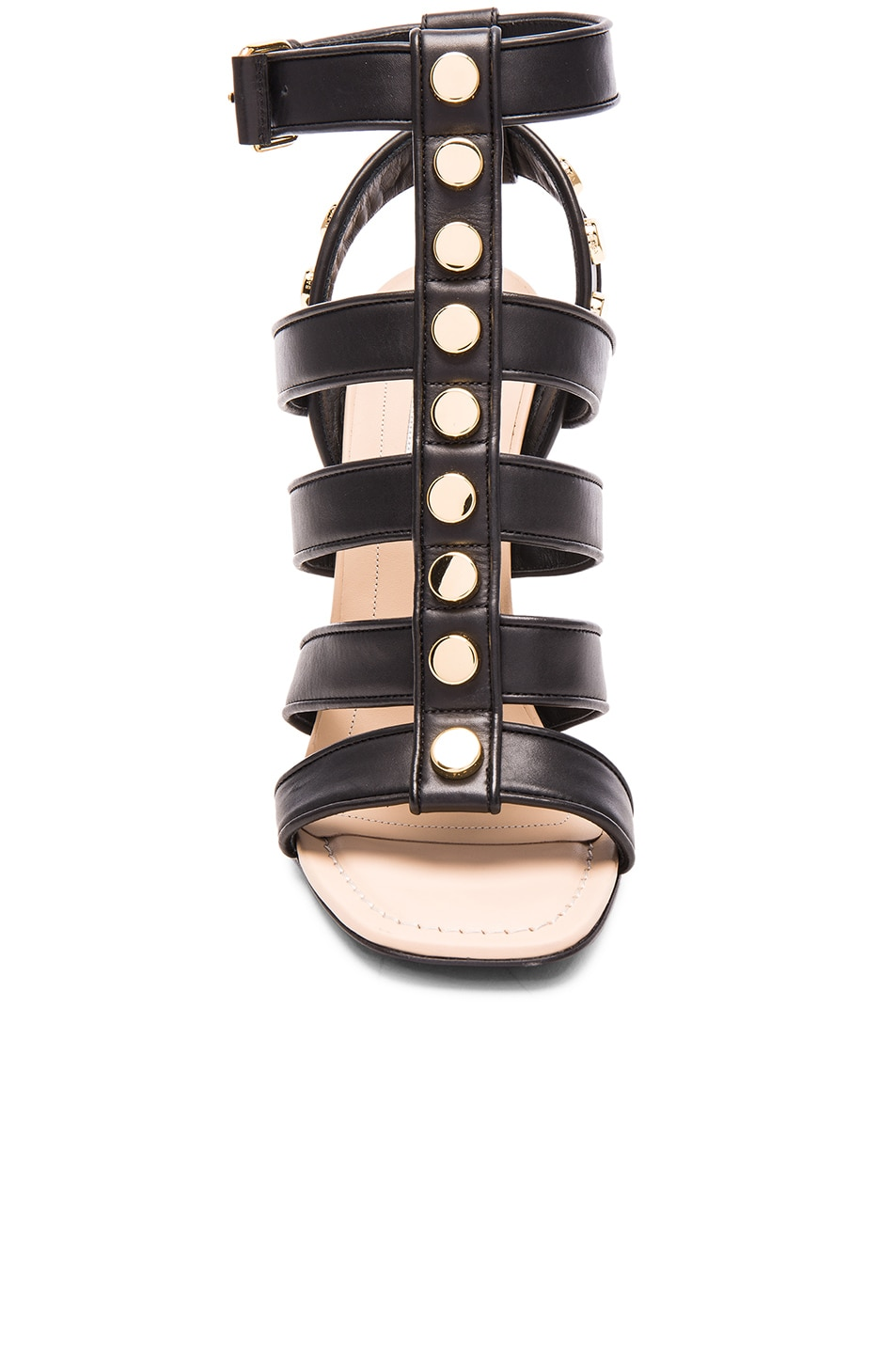 Image 4 of Balenciaga Studded Leather Wedge Sandals in Black
