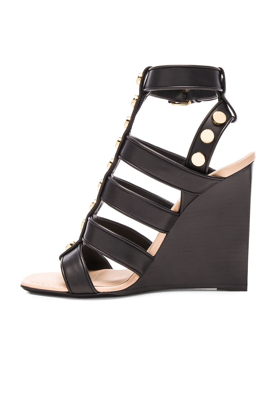 Image 5 of Balenciaga Studded Leather Wedge Sandals in Black