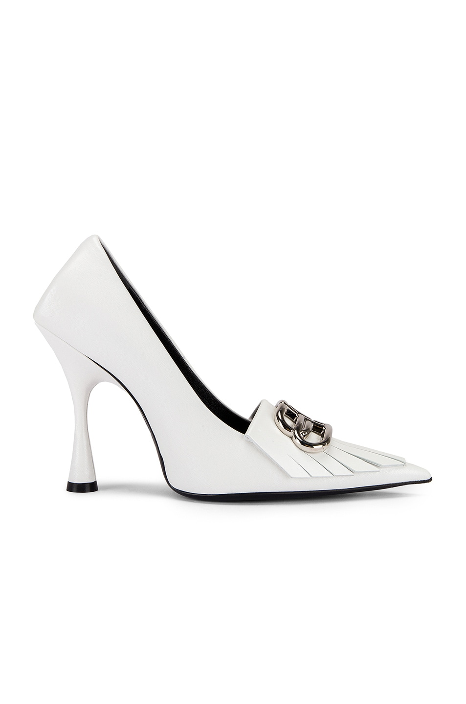 Image 2 of Balenciaga Fringe Knife Pumps in White & Silver