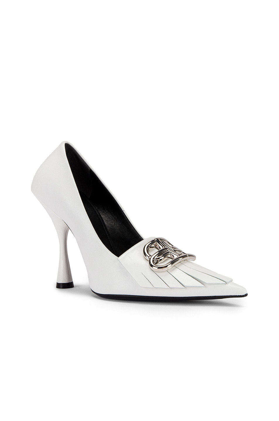 Image 3 of Balenciaga Fringe Knife Pumps in White & Silver