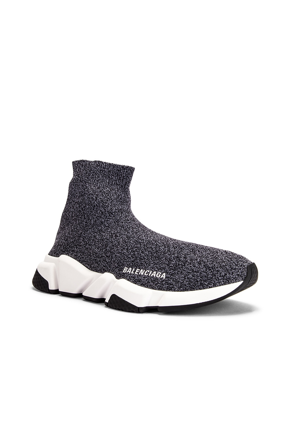 Image 2 of Balenciaga Speed Knit Sneakers in Black & White