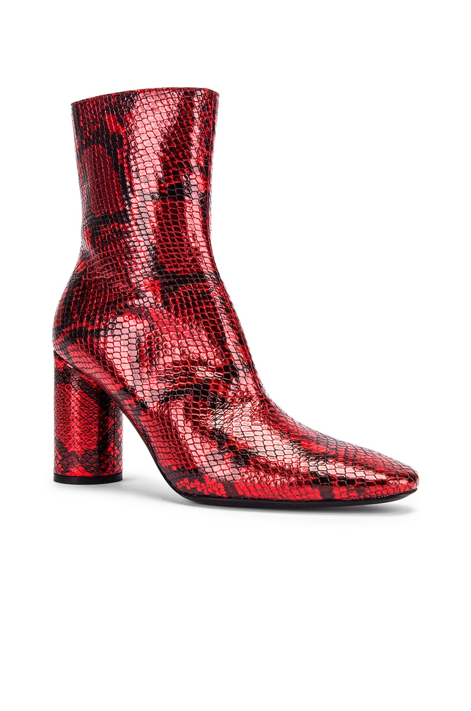 Image 2 of Balenciaga Oval Snake Booties in Red
