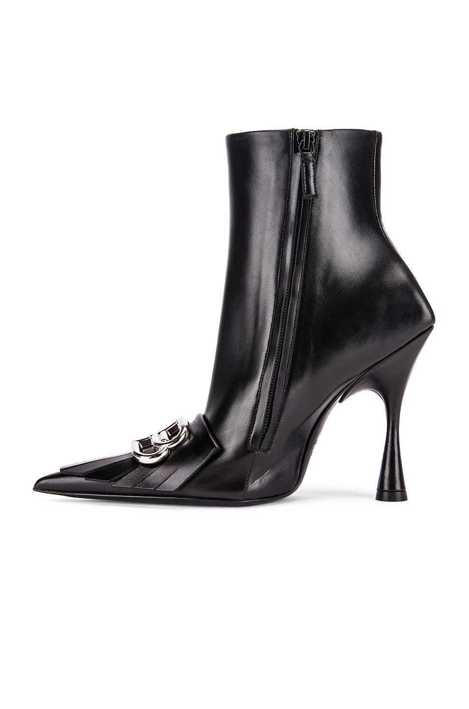 Image 5 of Balenciaga Fringe Knife Booties in Black & Silver