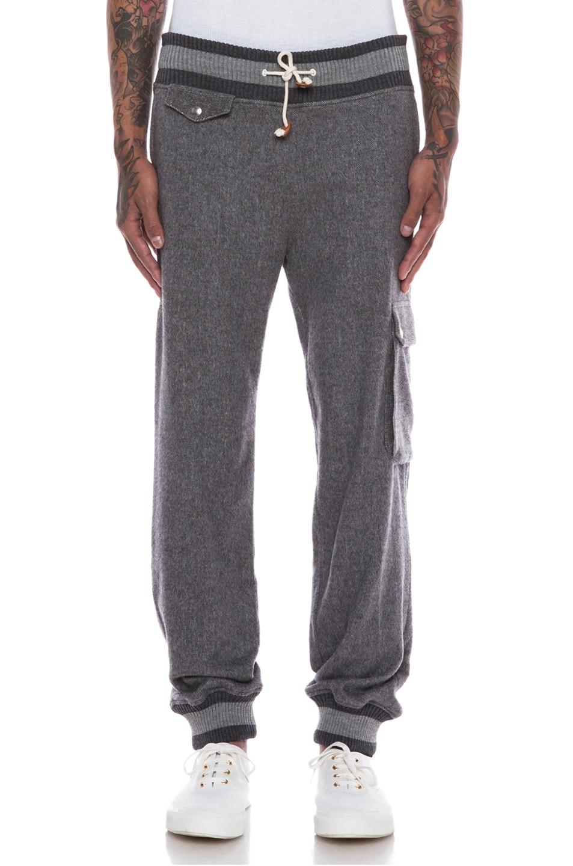 Image 1 of Band of Outsiders Brushed Herringbone Cargo Sweatpants in Grey