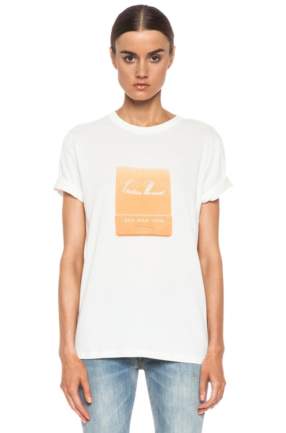 405e49698ca Image 1 of Band of Outsiders Chateau Marmont Cotton Tee in White