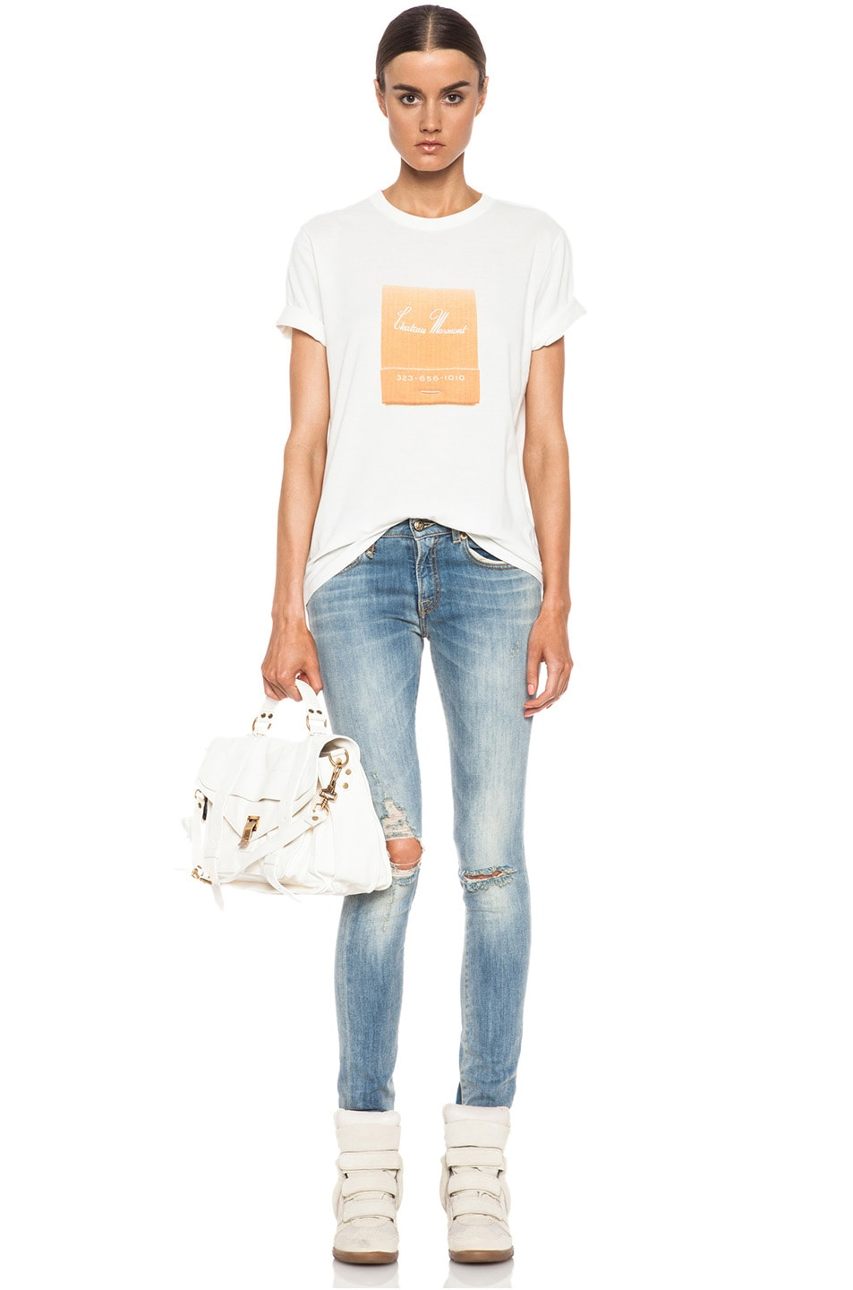 4f60c12780e Image 5 of Band of Outsiders Chateau Marmont Cotton Tee in White