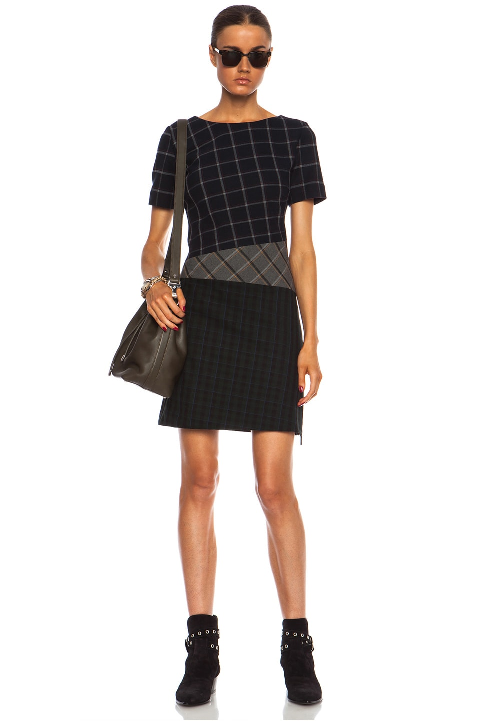Image 1 of Band of Outsiders Mixed Plaid Sheath Poly-Blend Dress in Navy Multi