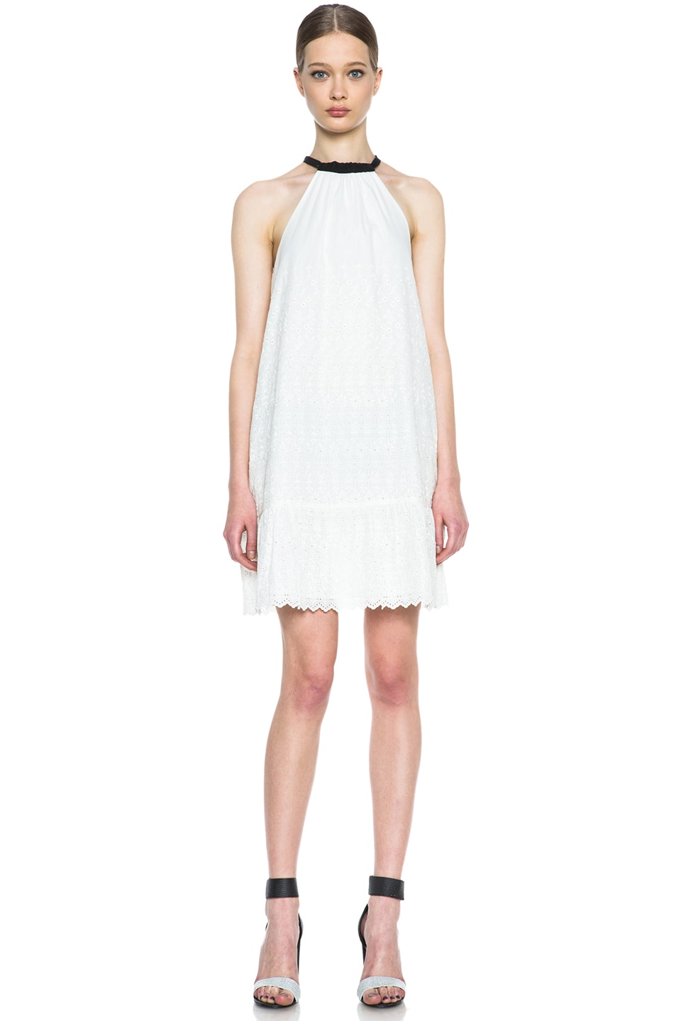 Image 1 of Band of Outsiders Eyelet Cotton Dress in Ecru