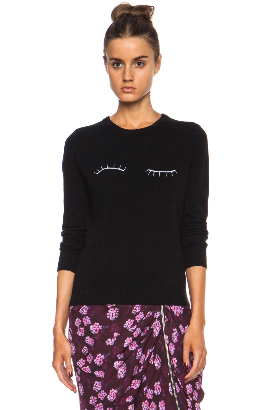 Image 1 of Band of Outsiders Eyelash Embroidery Merino Wool Sweater in Black