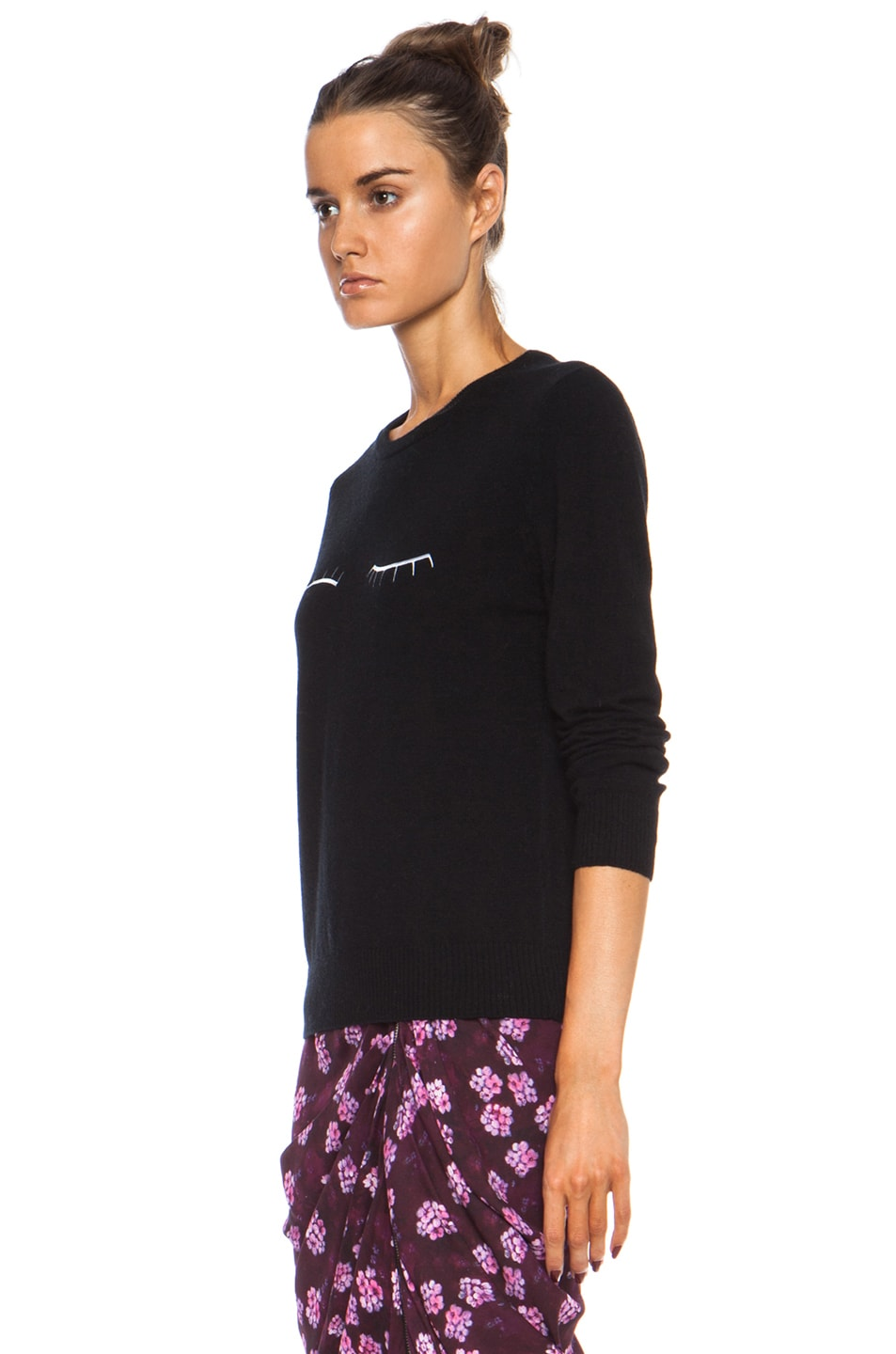 Image 2 of Band of Outsiders Eyelash Embroidery Merino Wool Sweater in Black