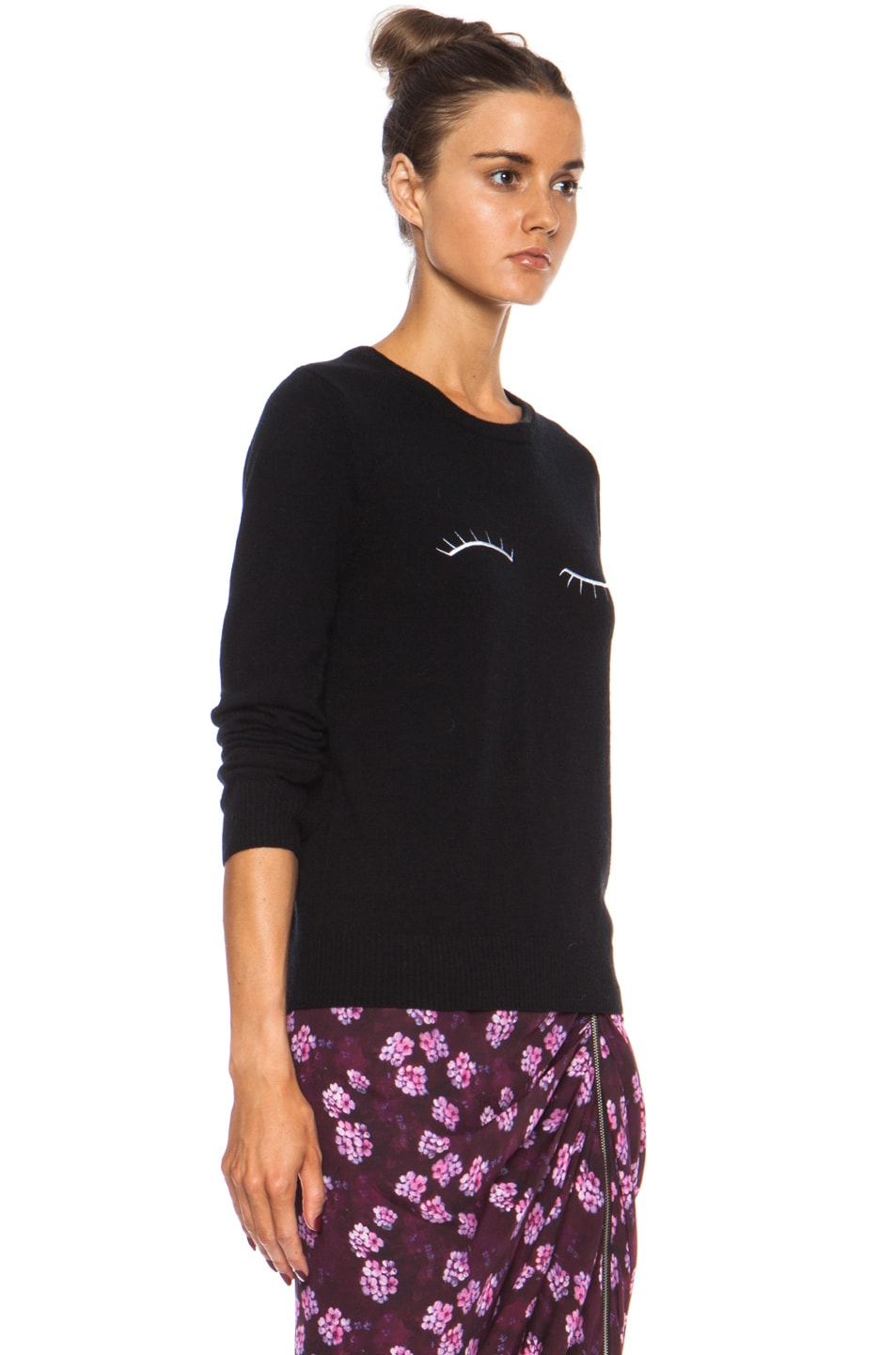 Image 3 of Band of Outsiders Eyelash Embroidery Merino Wool Sweater in Black