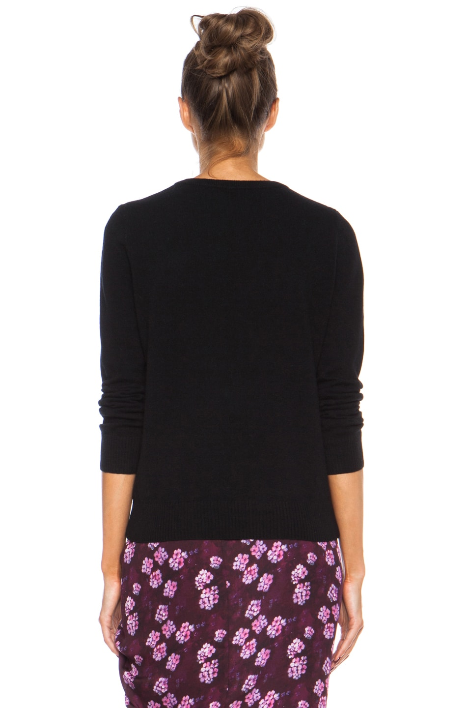 Image 4 of Band of Outsiders Eyelash Embroidery Merino Wool Sweater in Black