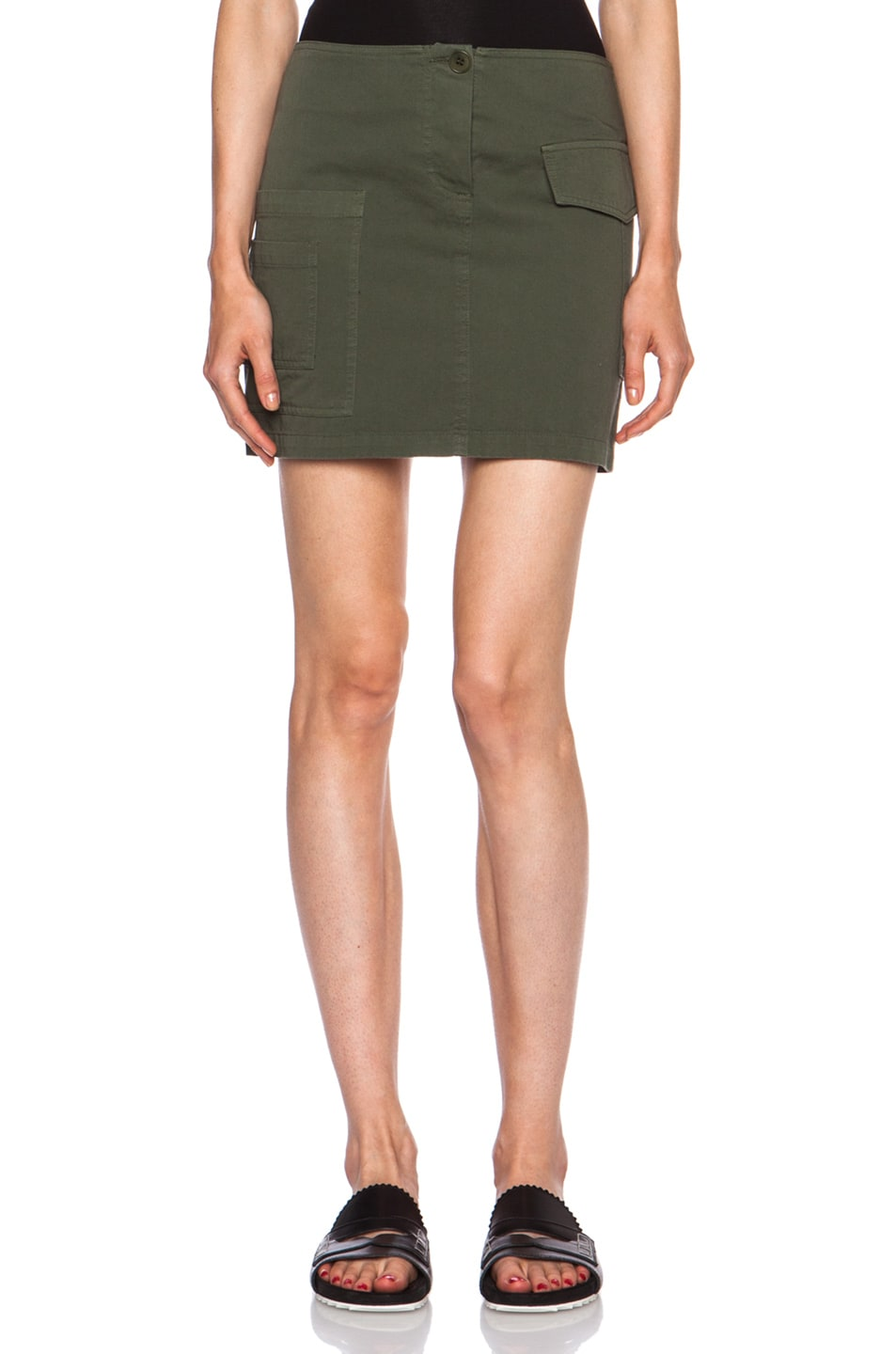 Image 1 of Band of Outsiders Cotton Cargo Mini Skirt in Army Green