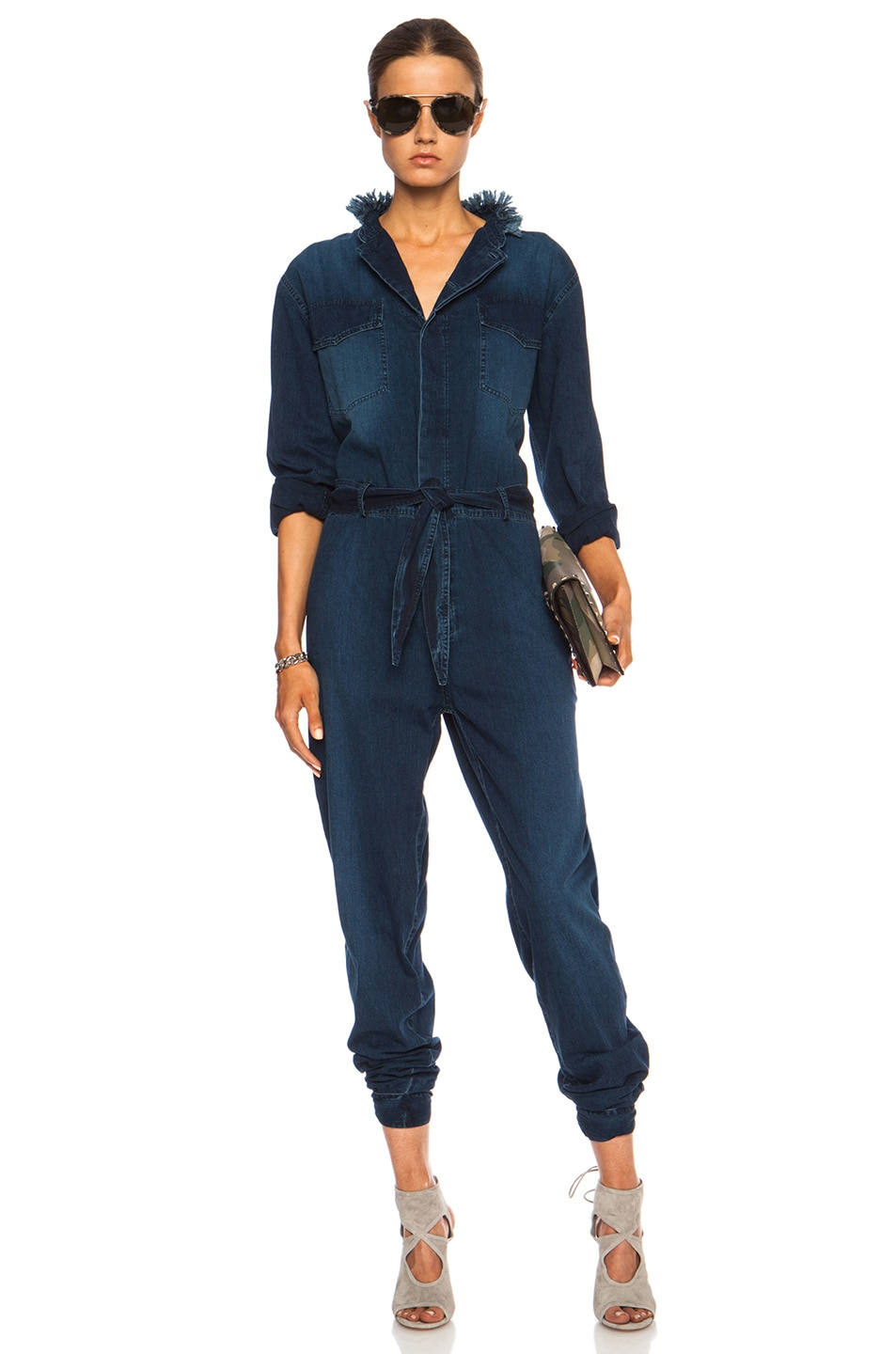 Image 1 of Band of Outsiders Denim Collared Cotton Jumpsuit in Indigo