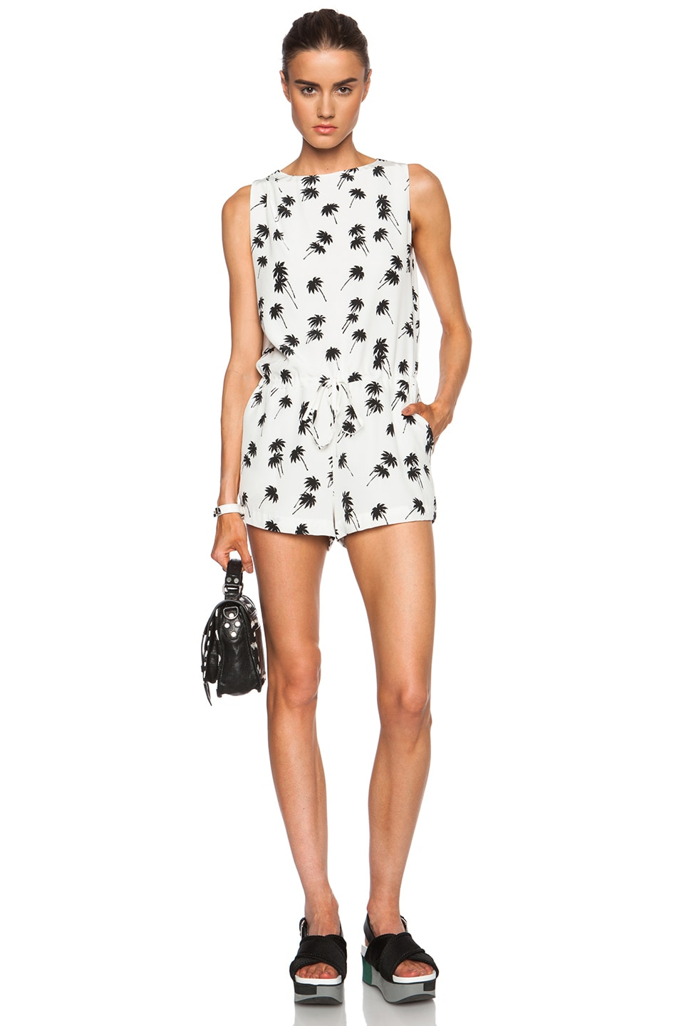Image 1 of Band of Outsiders Palm Tree Print Silk Romper in Ivory
