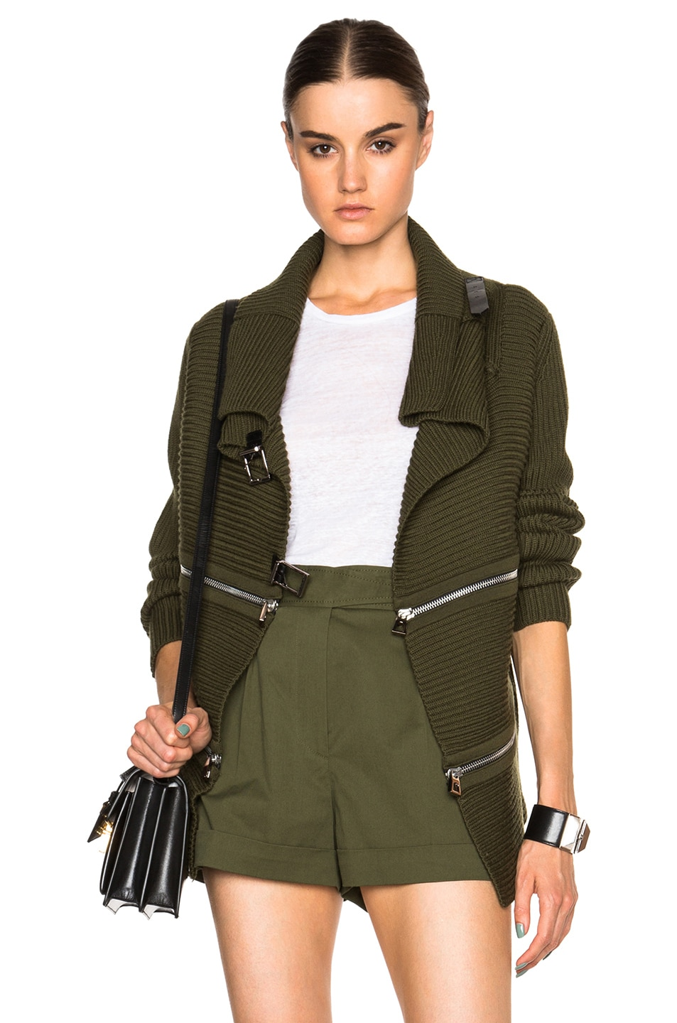 Image 1 of Barbara Bui Zip Sweater in Green