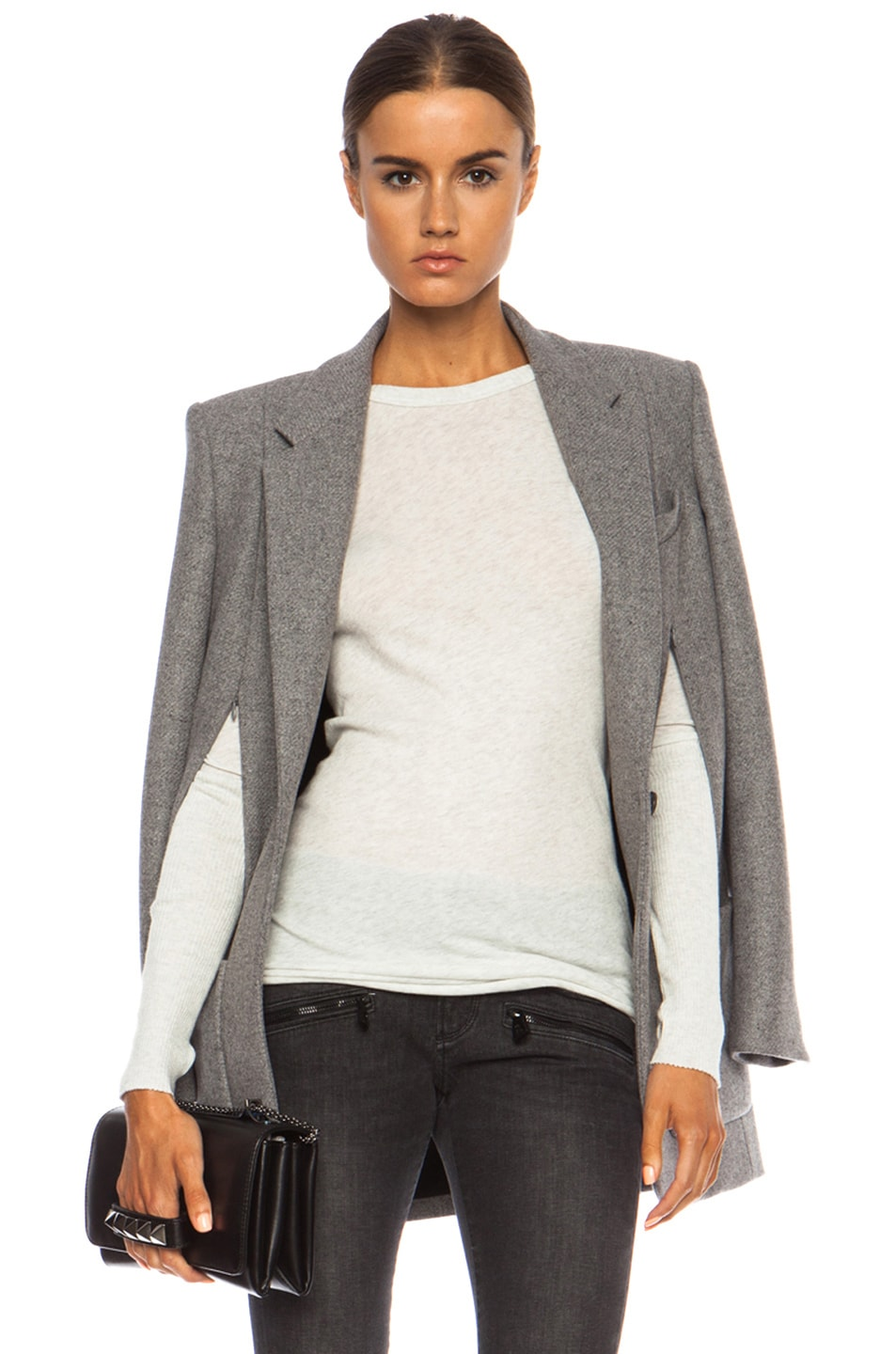 Image 1 of Barbara Bui Blazer Wool-Blend Cape in Grey