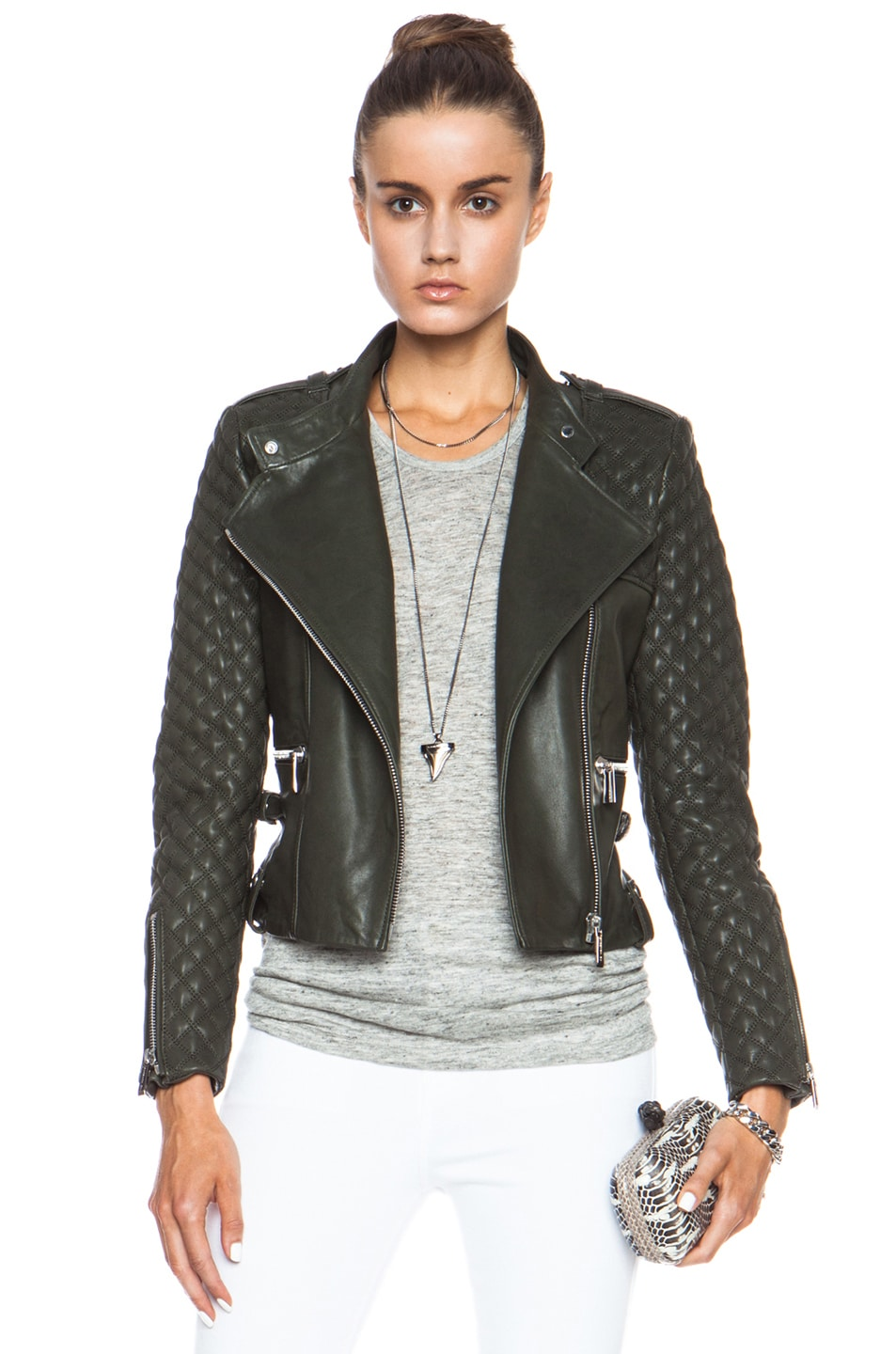 Image 1 of Barbara Bui Quilted Leather Jacket in Green