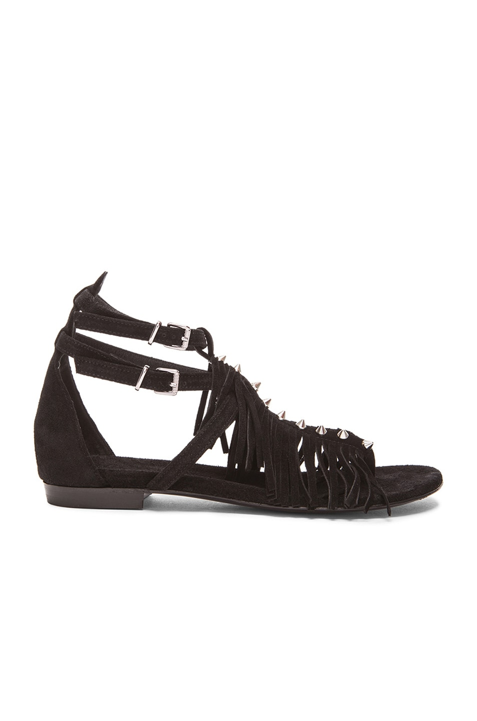 4f7be3fb8104 Image 1 of Barbara Bui Fringe Gladiator Suede Sandals in Black