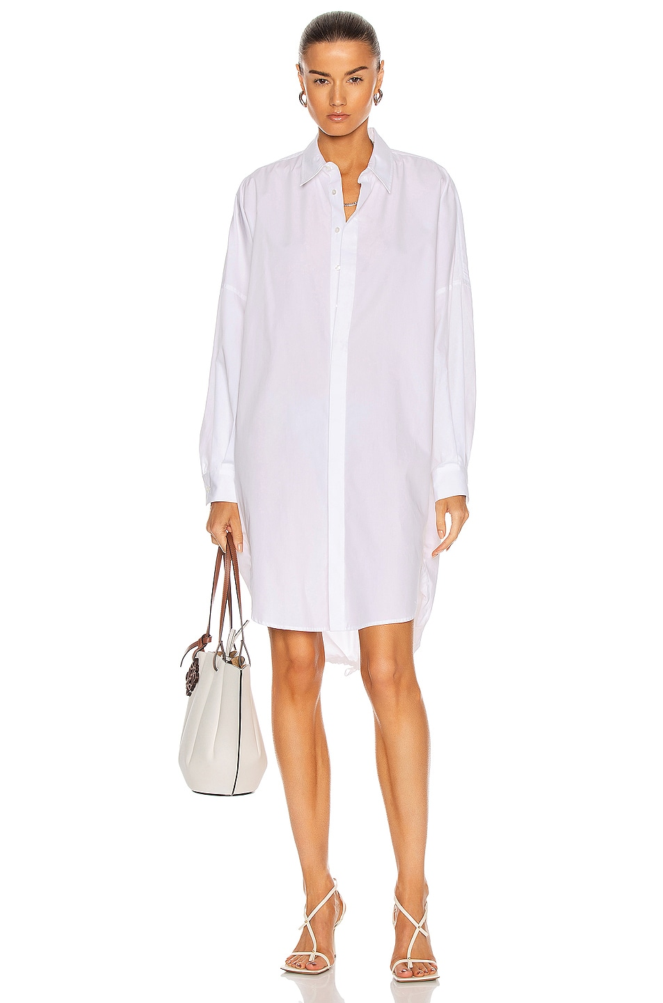 Image 1 of Bassike Cotton Circle Shirt Dress in White