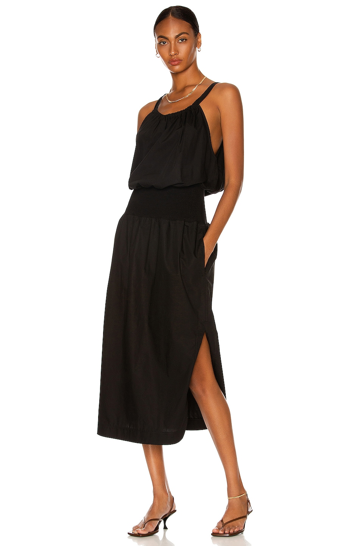 Image 1 of Bassike Cotton Rib Detail Tank Dress in Black