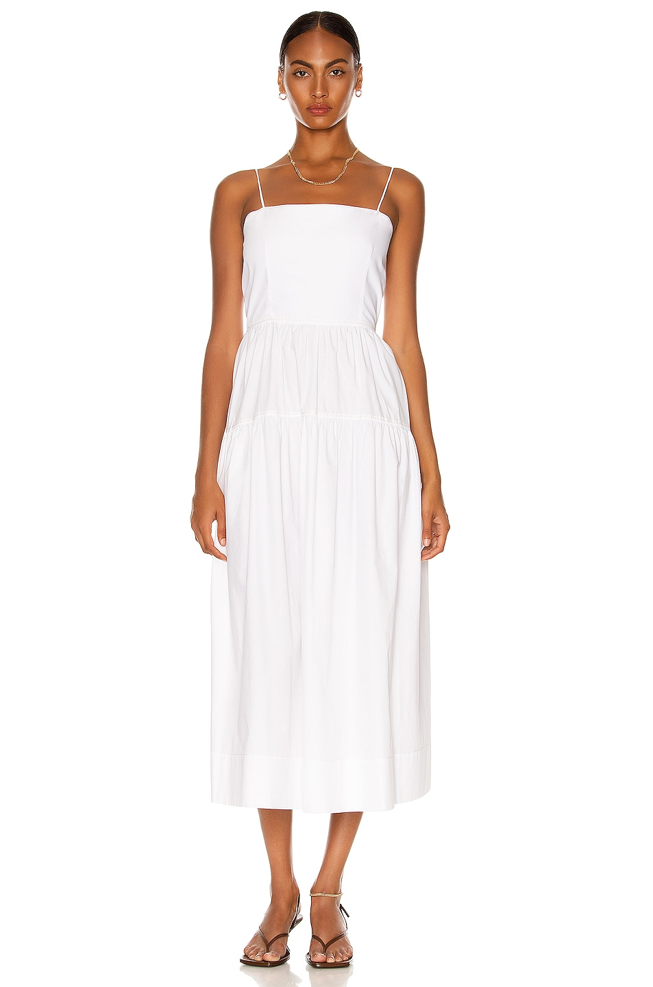 Image 1 of Bassike Cotton Tie Back Summer Dress in White