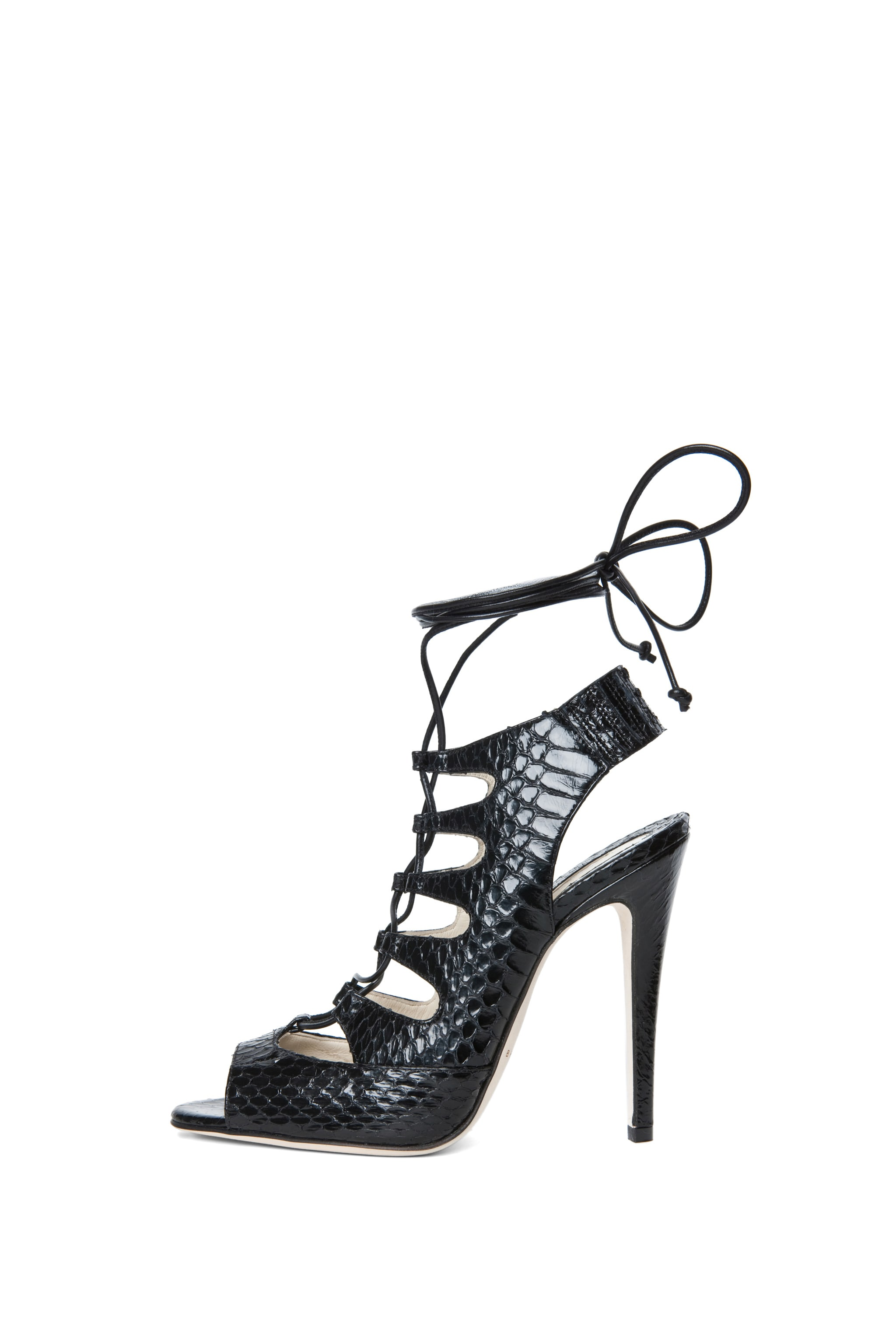 Image 1 of Brian Atwood Tie Me Up Snakeskin Lace Up Sandal in Black Snake
