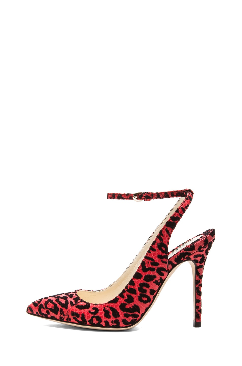 Image 1 of Brian Atwood Lilith Snakeskin Slingback Pumps in Red Leopard