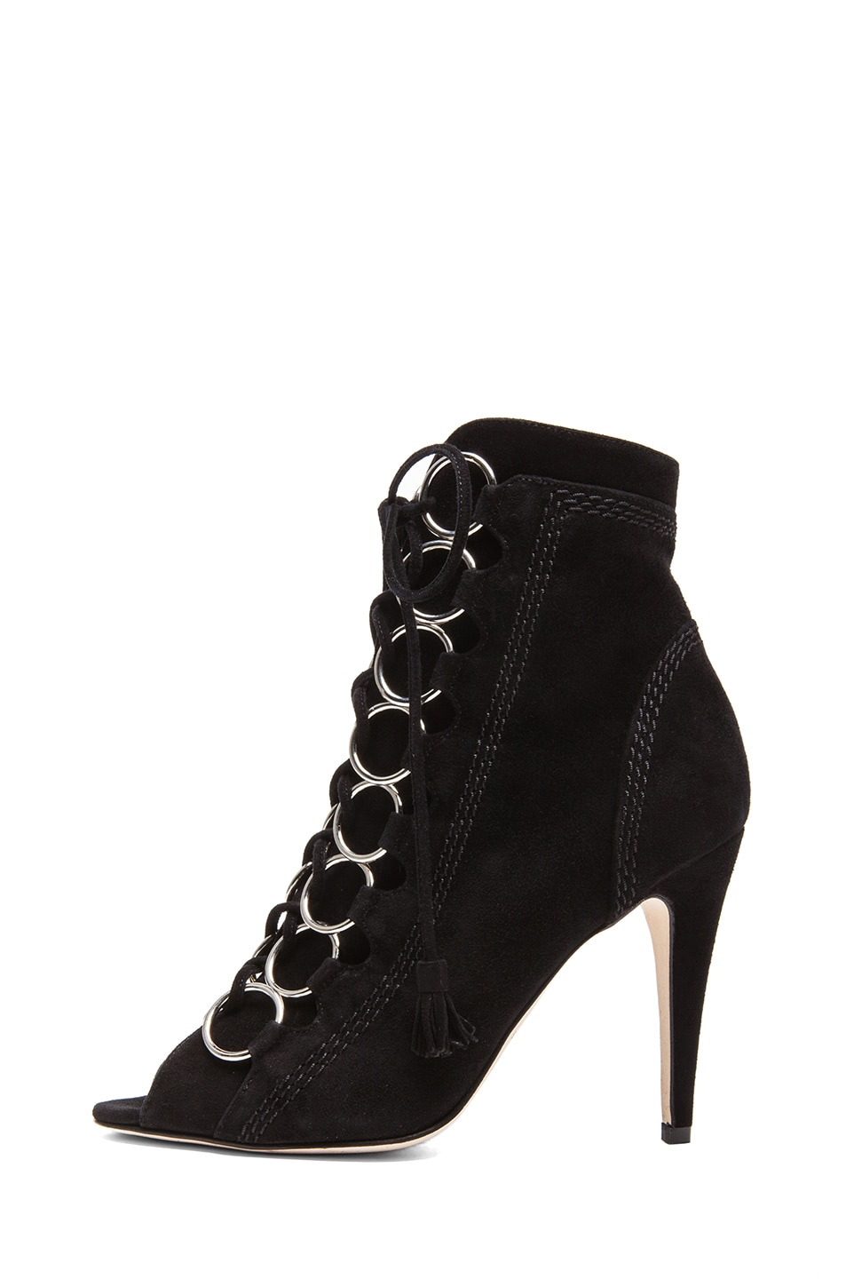Image 1 of Brian Atwood Adele Suede Lace Up Booties in Black