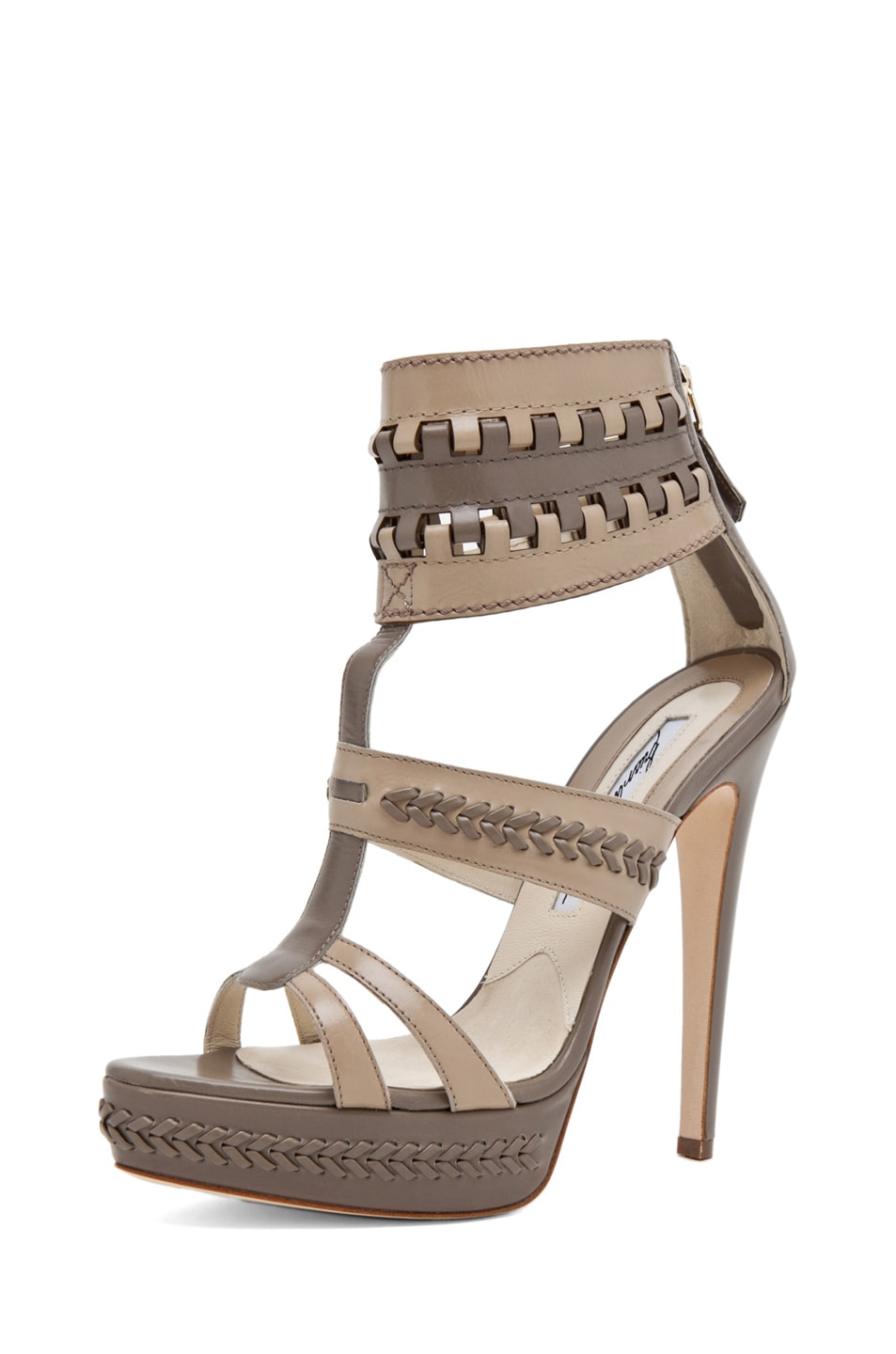 Image 2 of Brian Atwood Glamazon T Strap in Pomice & Taupe