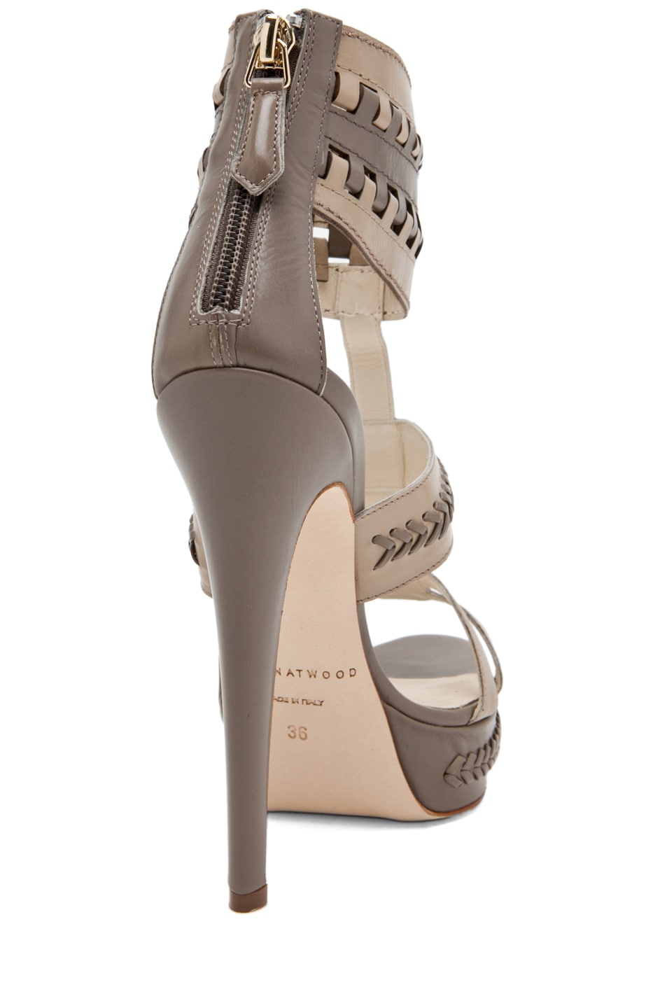 Image 3 of Brian Atwood Glamazon T Strap in Pomice & Taupe