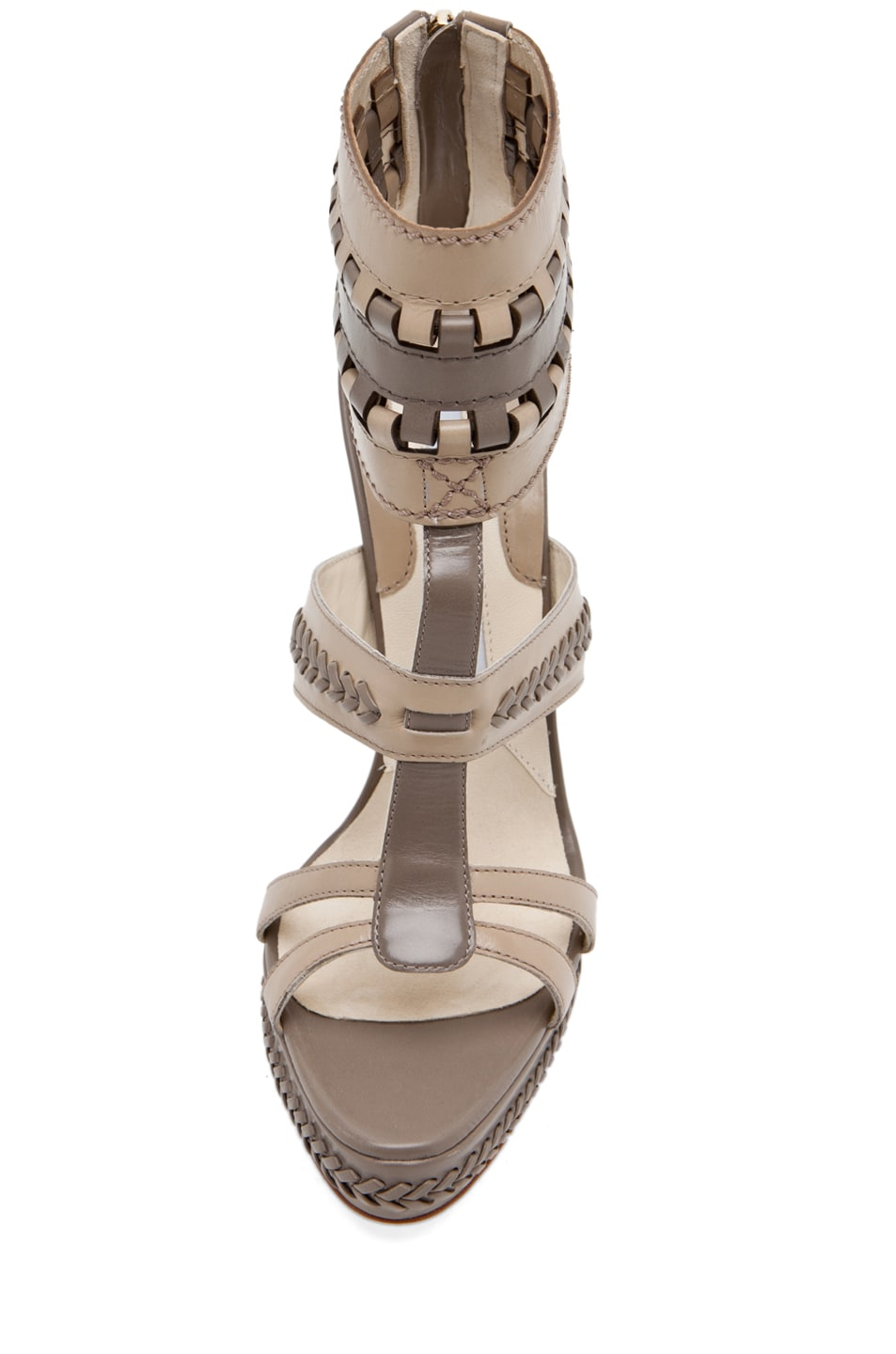 Image 4 of Brian Atwood Glamazon T Strap in Pomice & Taupe