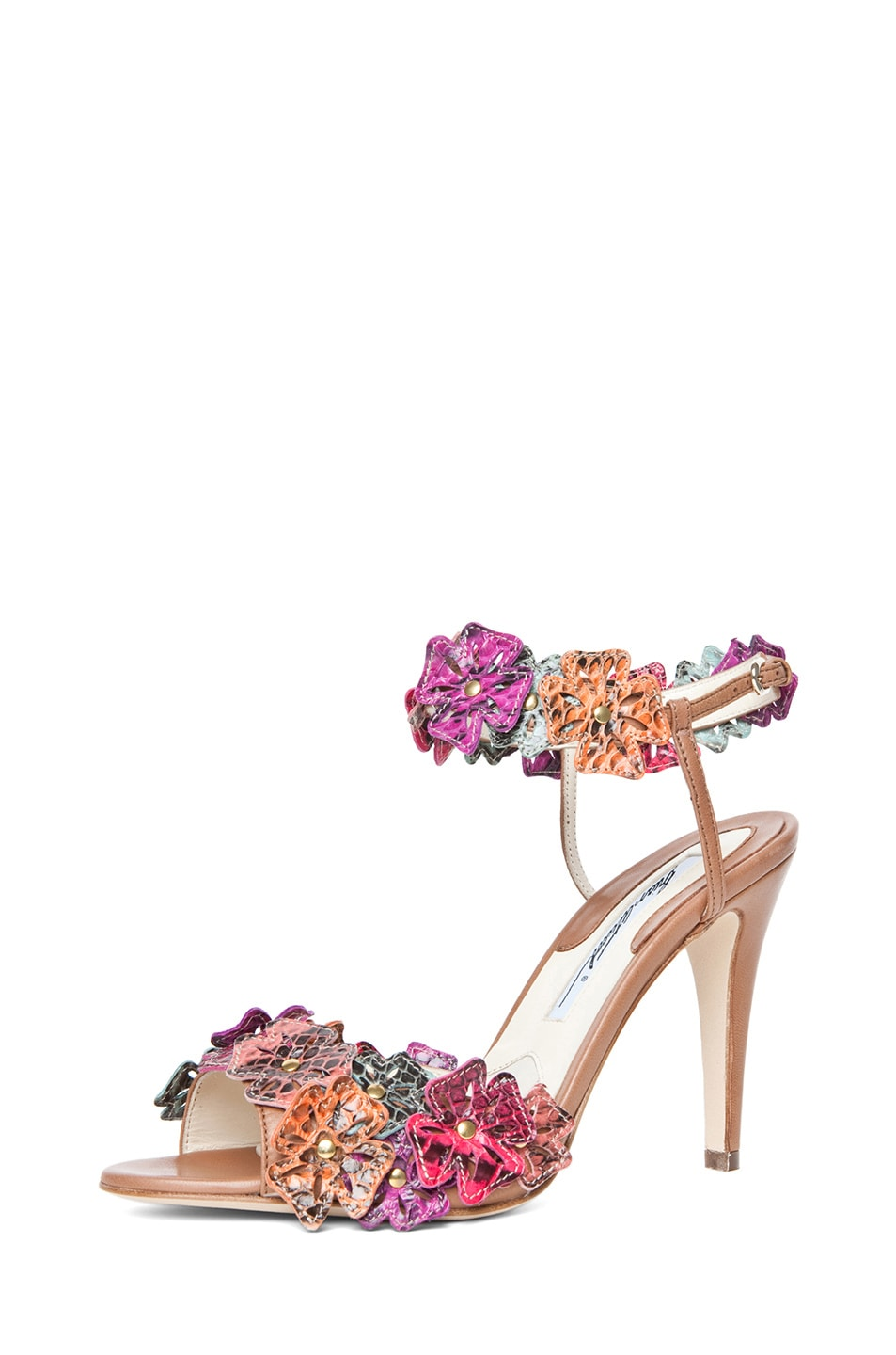 Image 2 of Brian Atwood Coraline Leather Flower Sandals in Snake Multi
