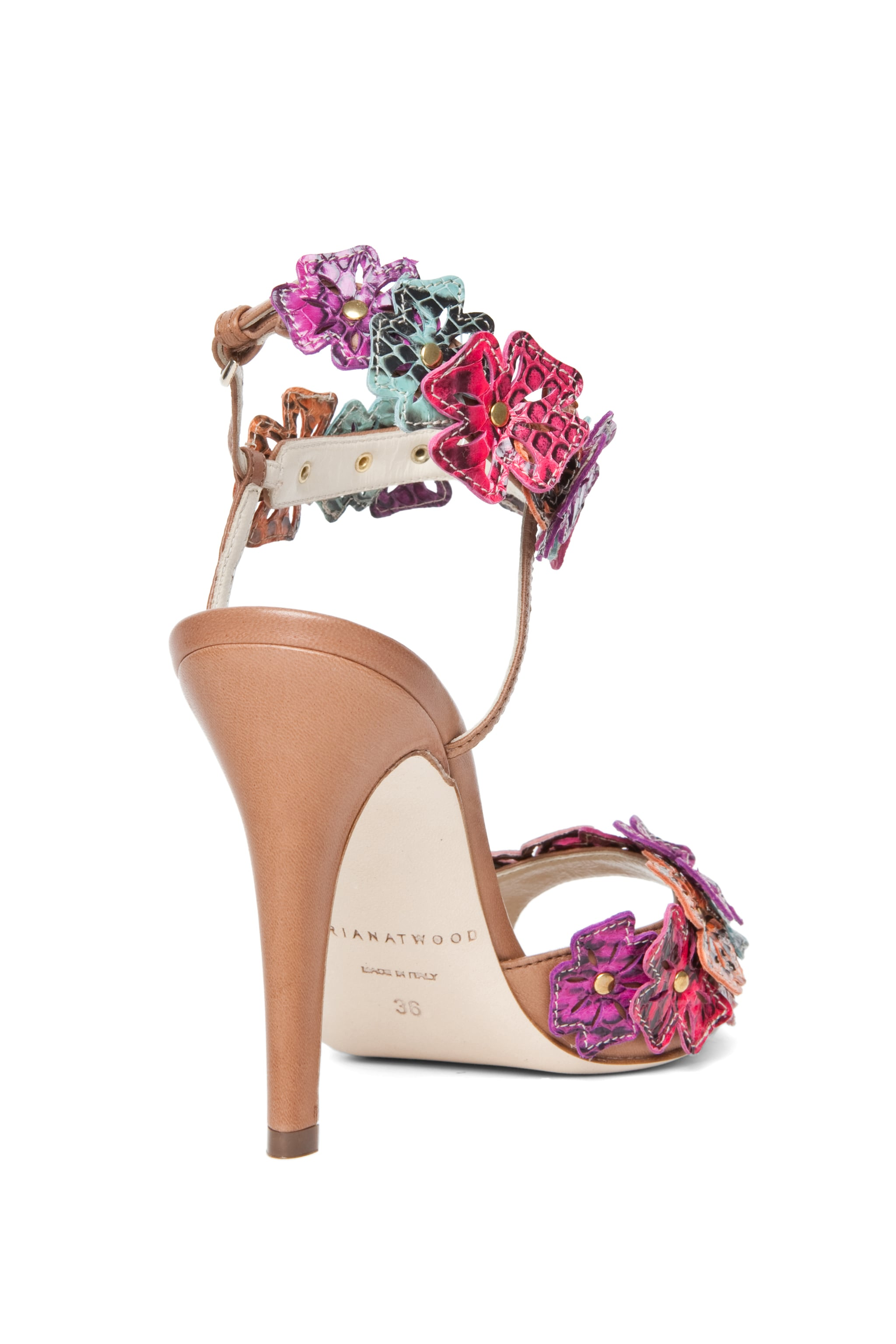 Image 3 of Brian Atwood Coraline Leather Flower Sandals in Snake Multi