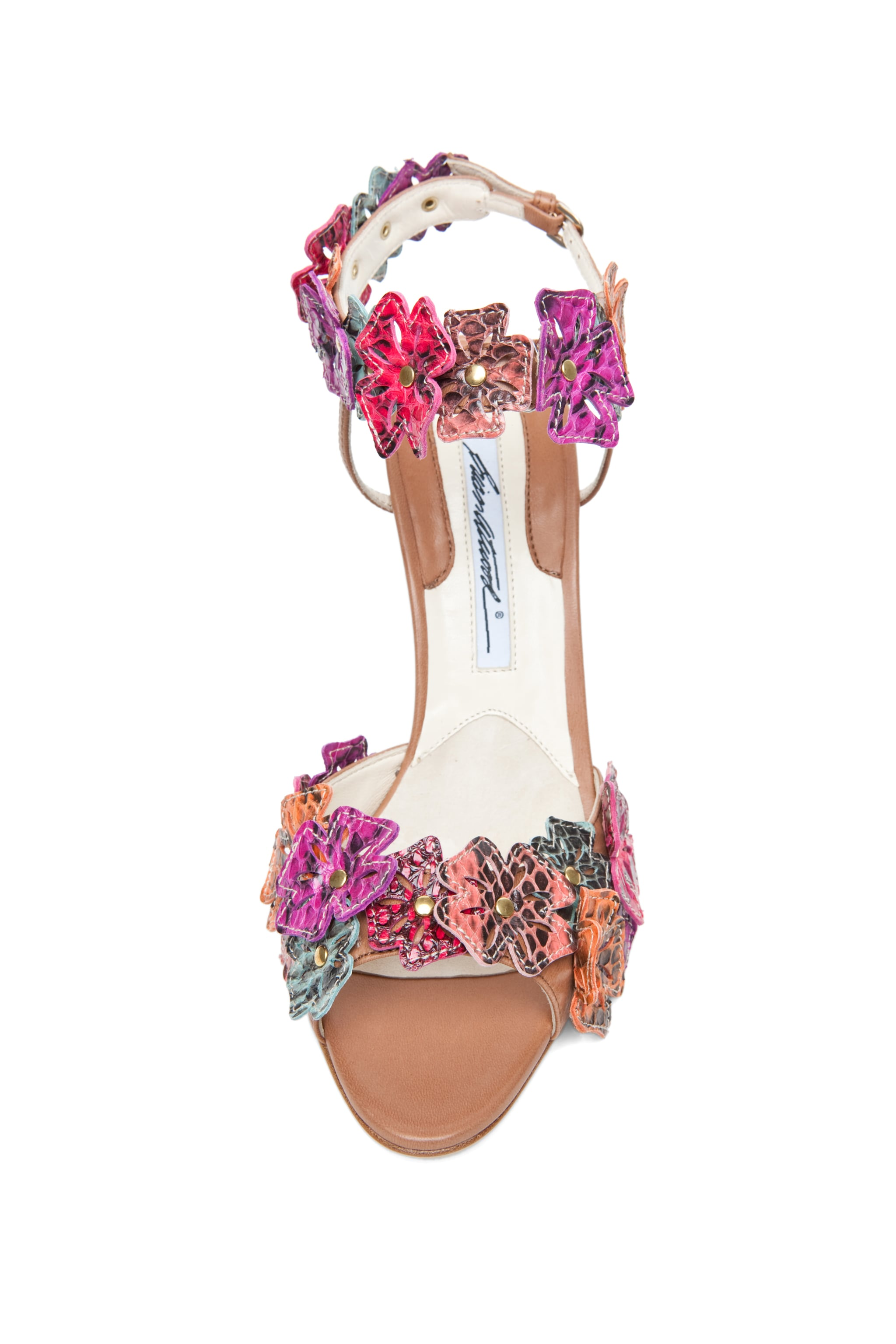 Image 4 of Brian Atwood Coraline Leather Flower Sandals in Snake Multi
