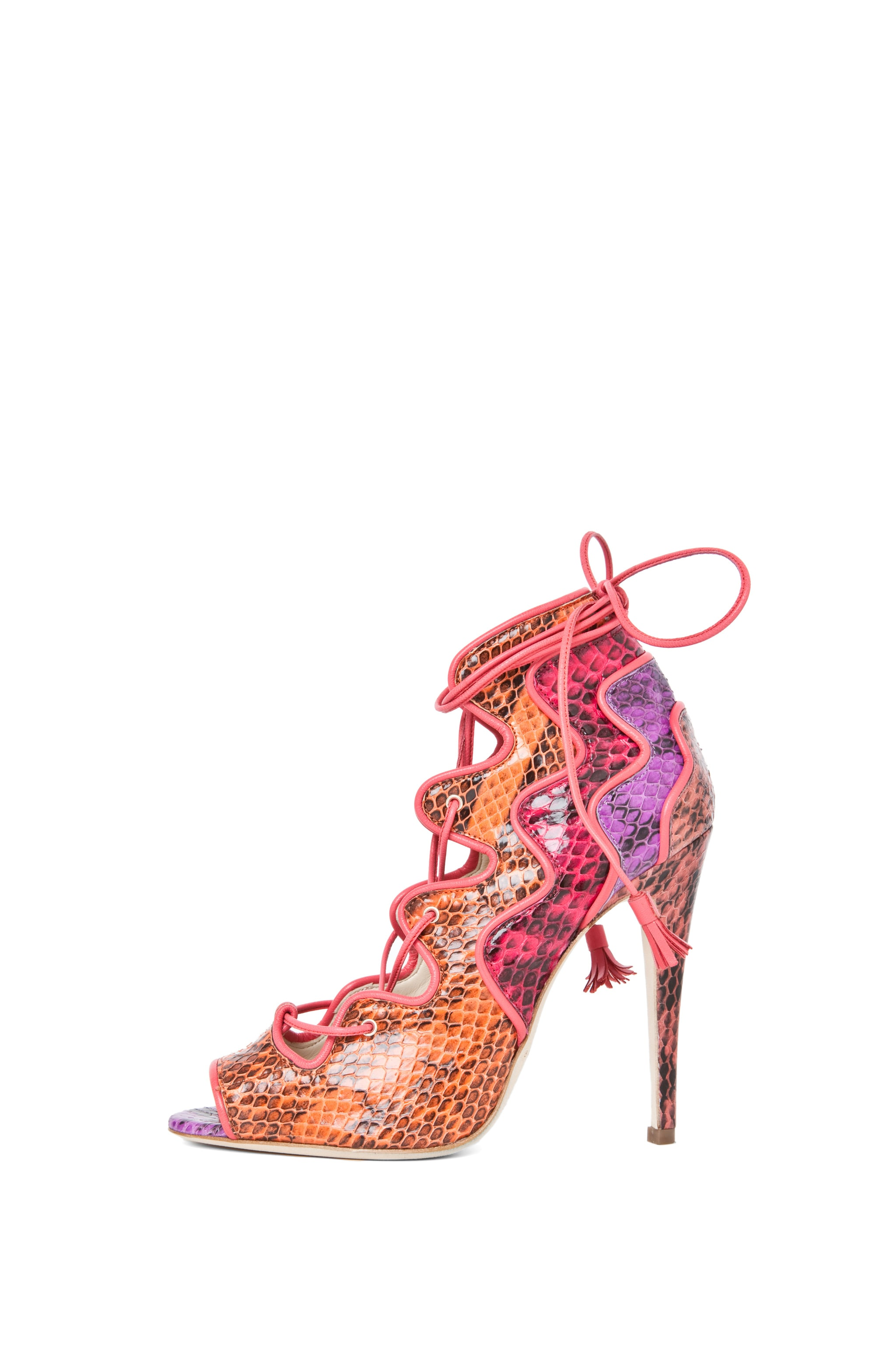 Image 1 of Brian Atwood Kayla Snakeskin Lace Up Bootie in Snake Multi