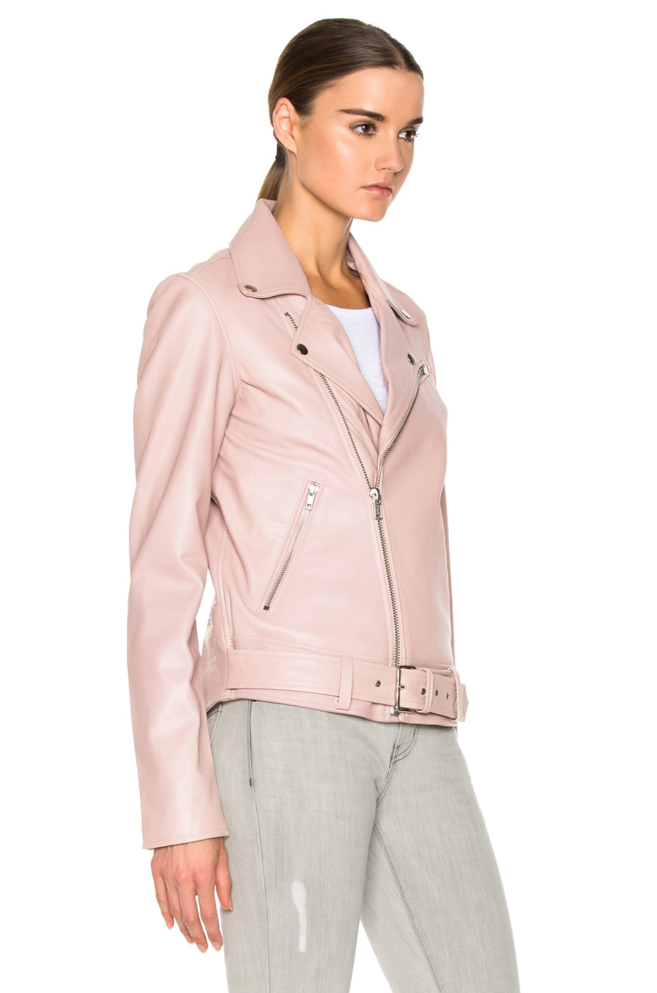 BLK DNM Leather Jacket 18 in Dusty Pink | FWRD