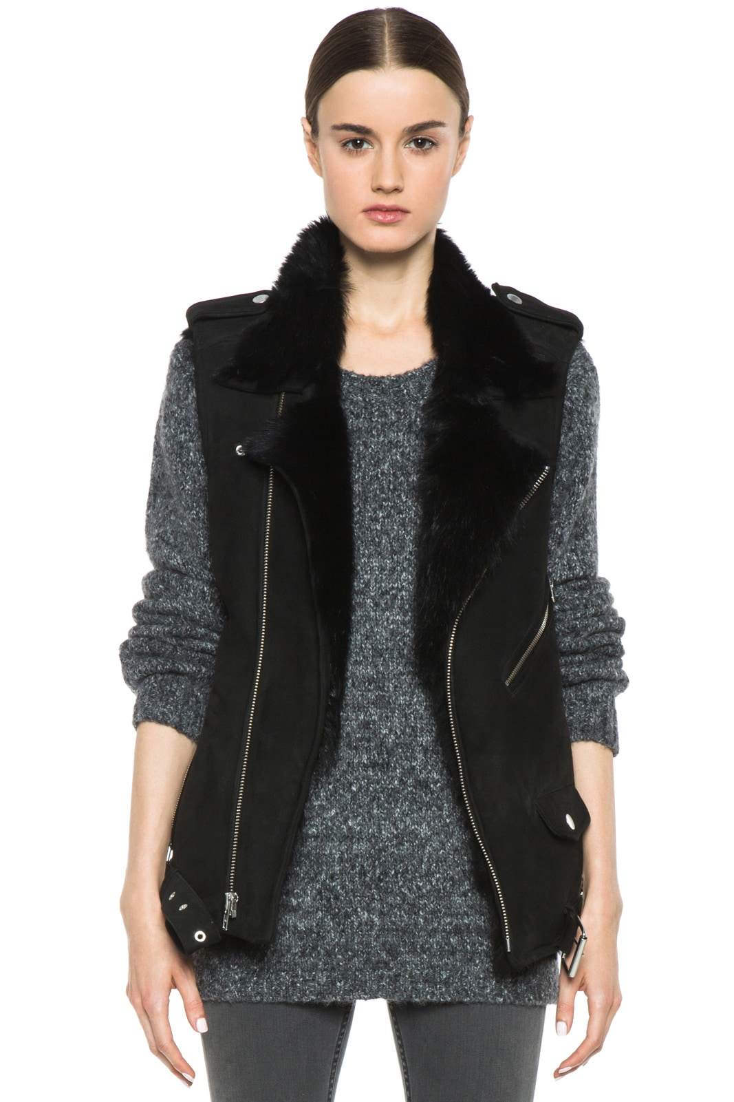 Image 1 of BLK DNM Shearling Motorcycle Vest in Black