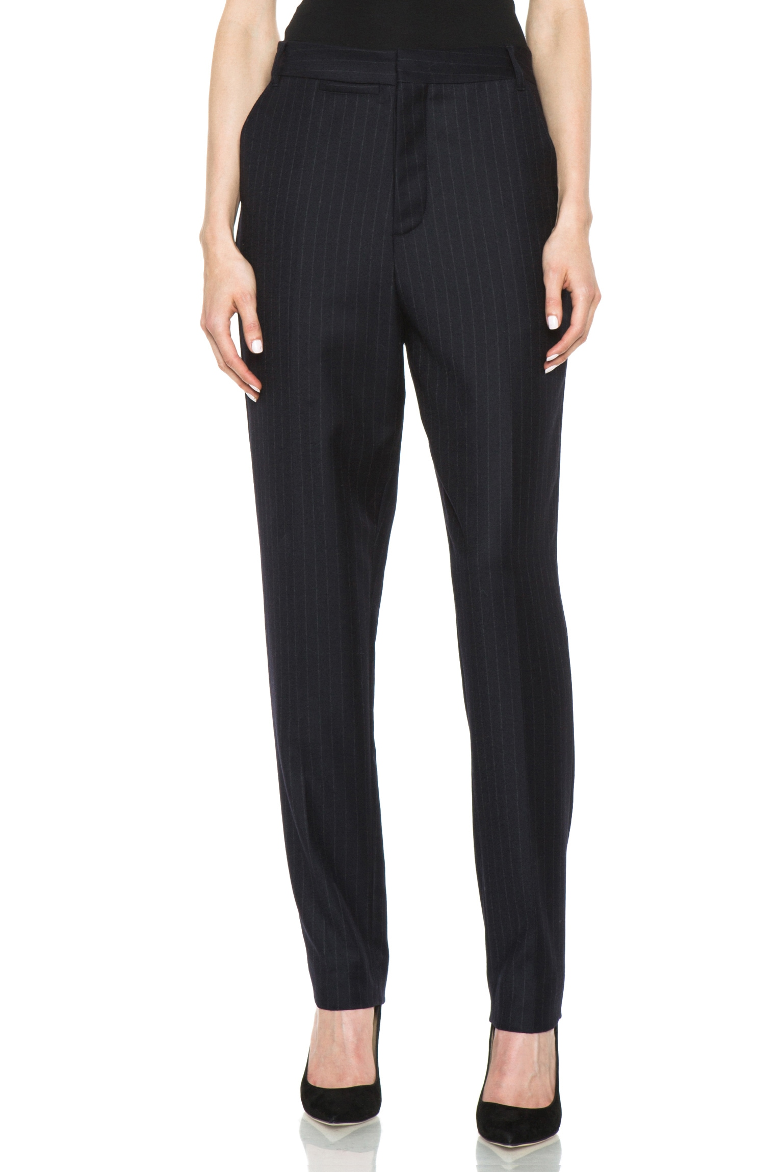 Image 1 of BLK DNM Dropped Crotch Flat Front Wool Pant in Navy Blue Pinstripe