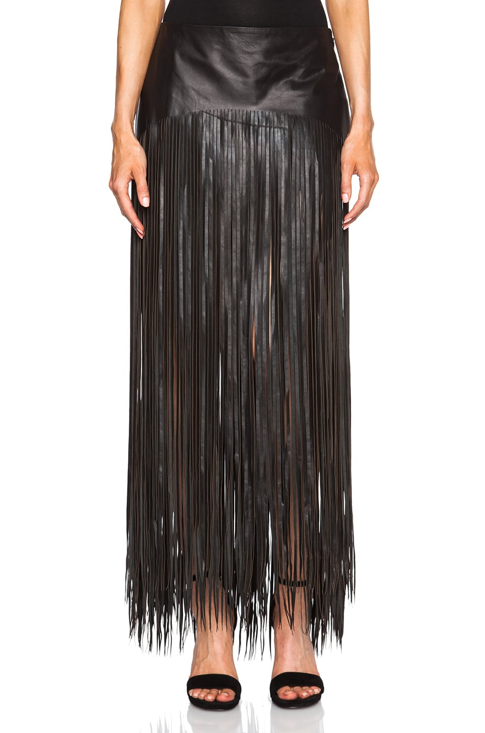 BLK DNM Fringe Leather Skirt 21 in Black | FWRD
