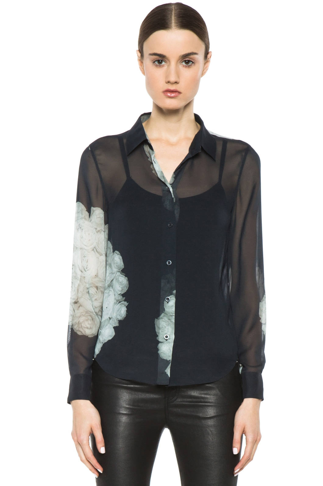 Image 1 of BLK DNM Silk Shirt in White Rose