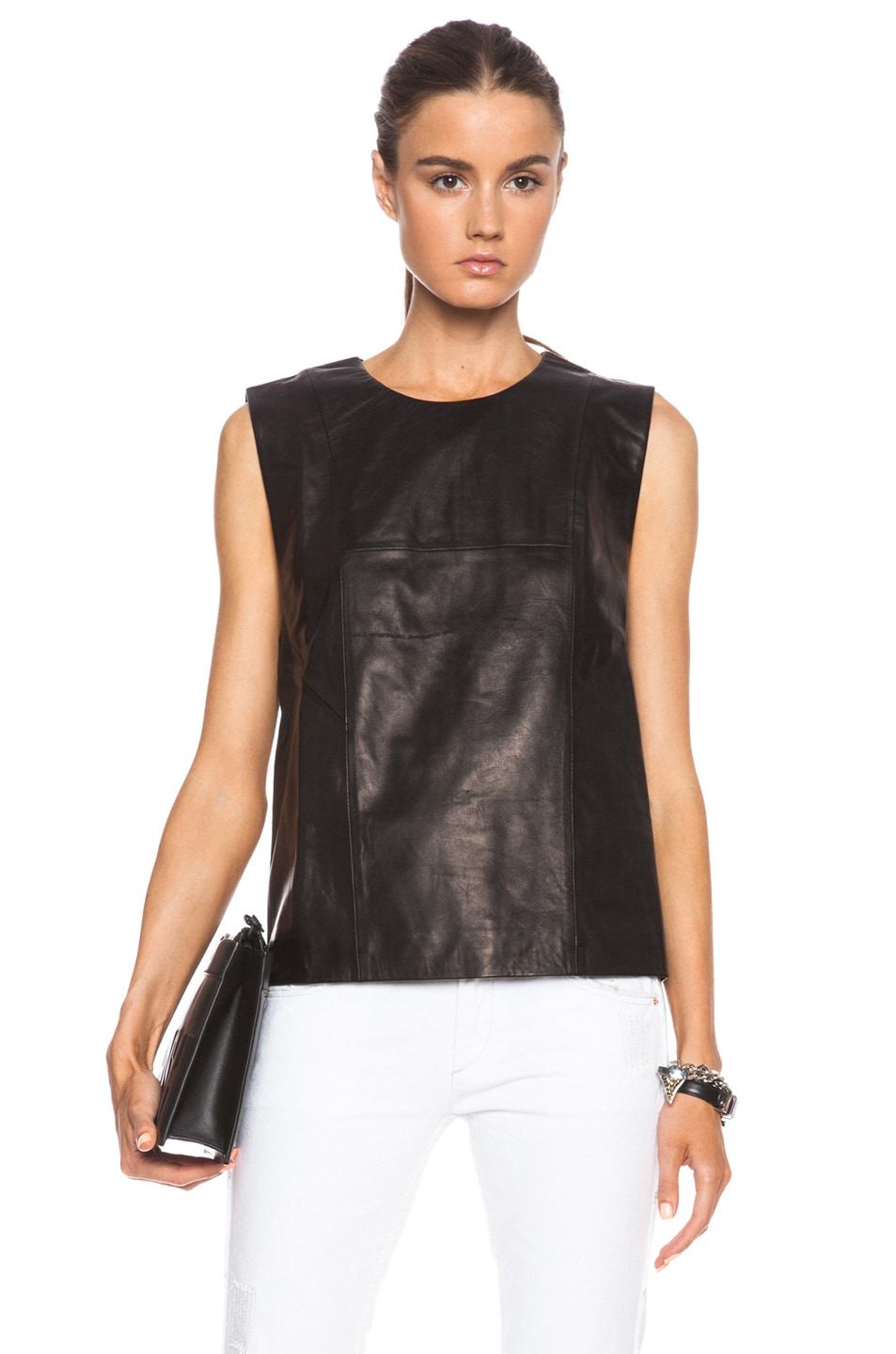Image 1 of BLK DNM Leather Shirt 23 in Black