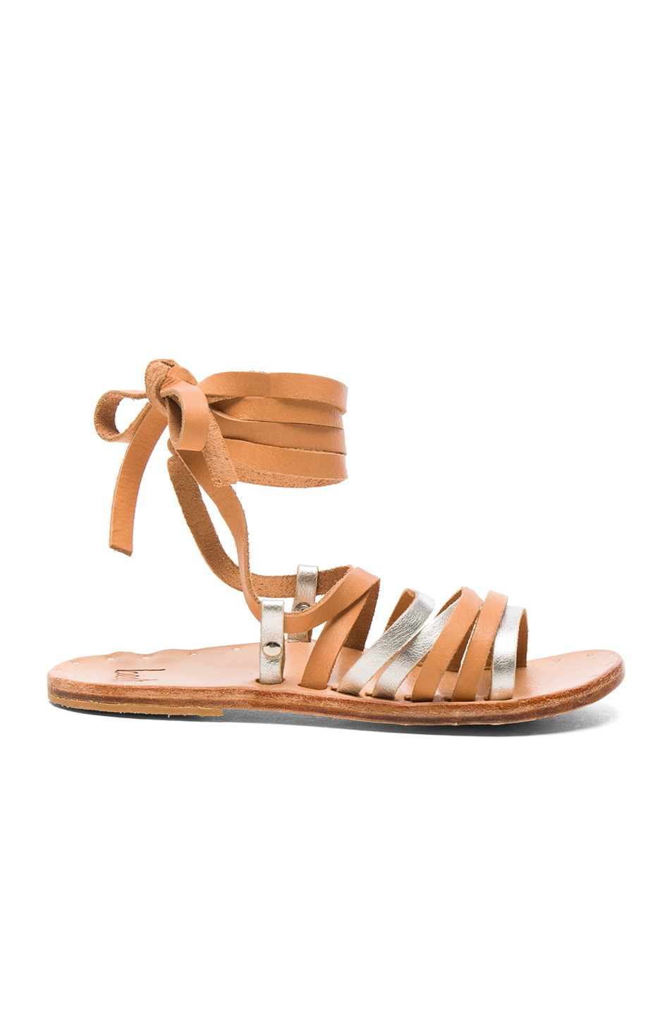 Image 1 of Beek Leather Heron Sandals in Silver & Natural