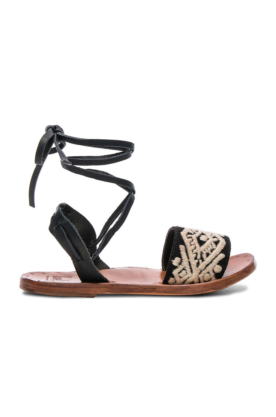 Image 1 of Beek Leather & Embroidery Toucan Sandals in Black & Natural